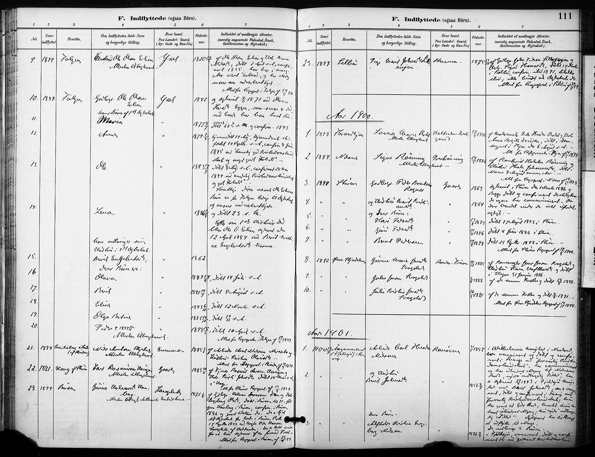 SAT, Ministerialprotokoller, klokkerbøker og fødselsregistre - Sør-Trøndelag, 685/L0973: Ministerialbok nr. 685A10, 1891-1907, s. 111