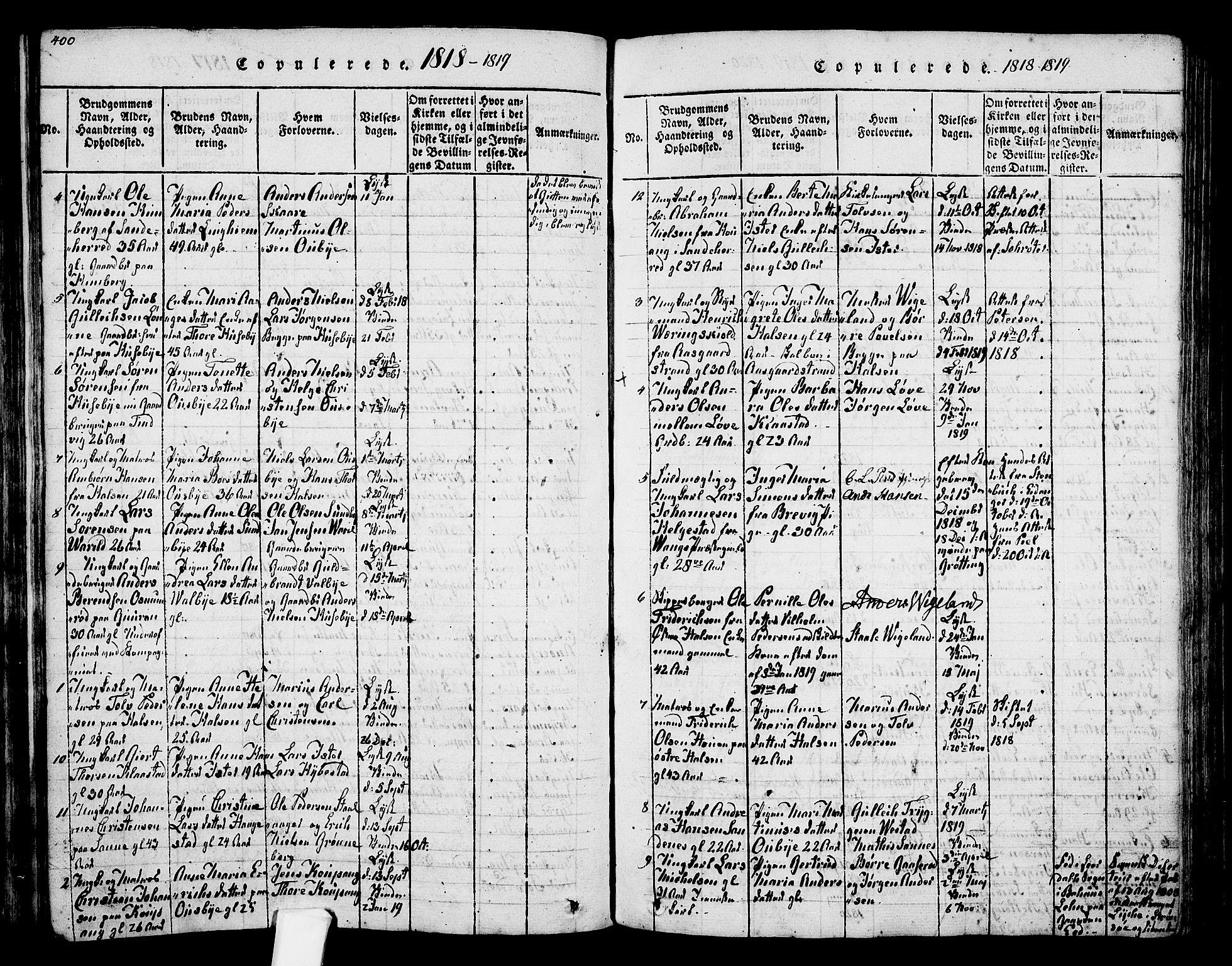 SAKO, Tjølling kirkebøker, F/Fa/L0005: Ministerialbok nr. 5, 1814-1836, s. 400-401