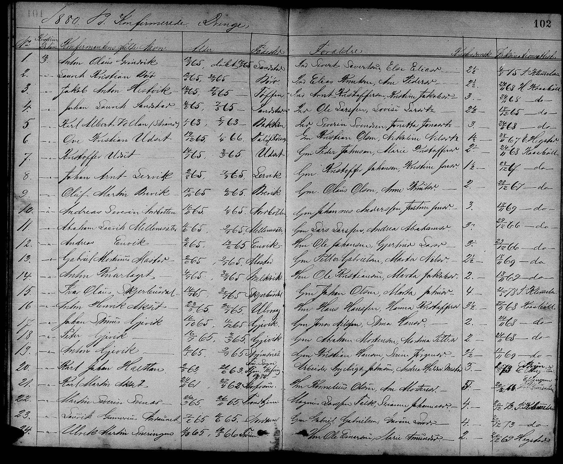 SAT, Ministerialprotokoller, klokkerbøker og fødselsregistre - Sør-Trøndelag, 637/L0561: Klokkerbok nr. 637C02, 1873-1882, s. 102