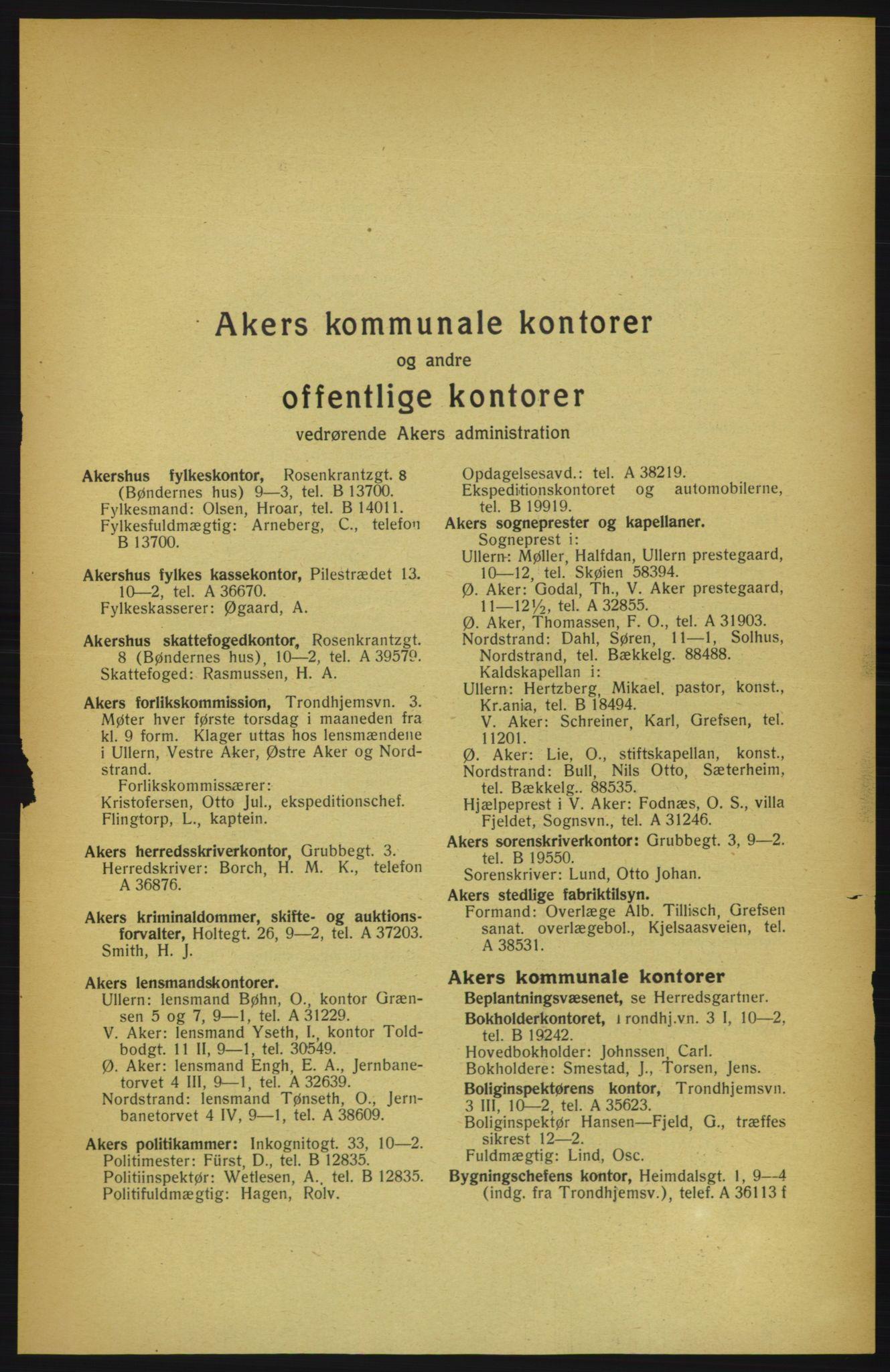 PUBL, Aker adressebok/adressekalender, 1922, s. 9