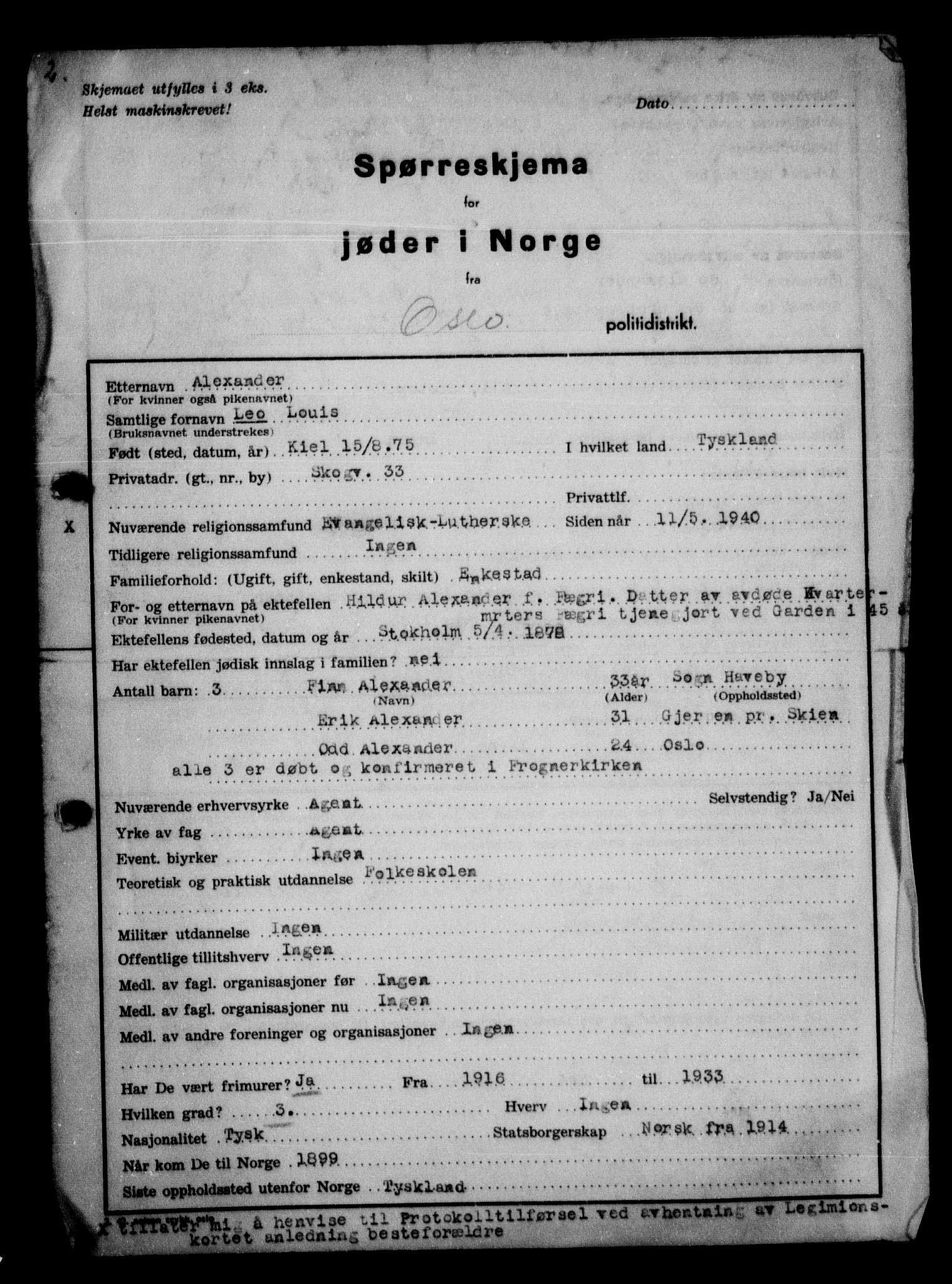 RA, Statspolitiet - Hovedkontoret / Osloavdelingen, G/Ga/L0009: Spørreskjema for jøder i Norge, Oslo Alexander-Gutman, 1942, s. 1