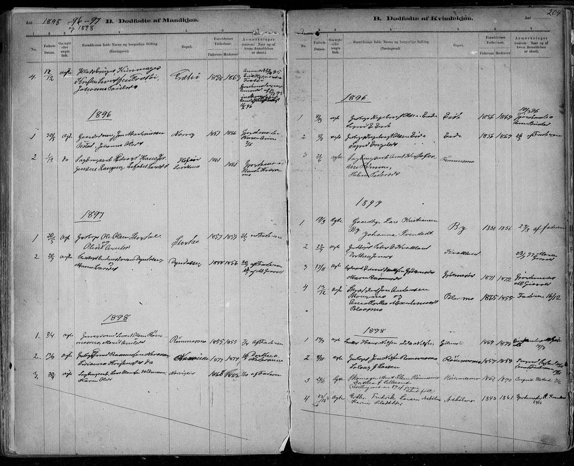 SAT, Ministerialprotokoller, klokkerbøker og fødselsregistre - Sør-Trøndelag, 668/L0811: Ministerialbok nr. 668A11, 1894-1913, s. 204