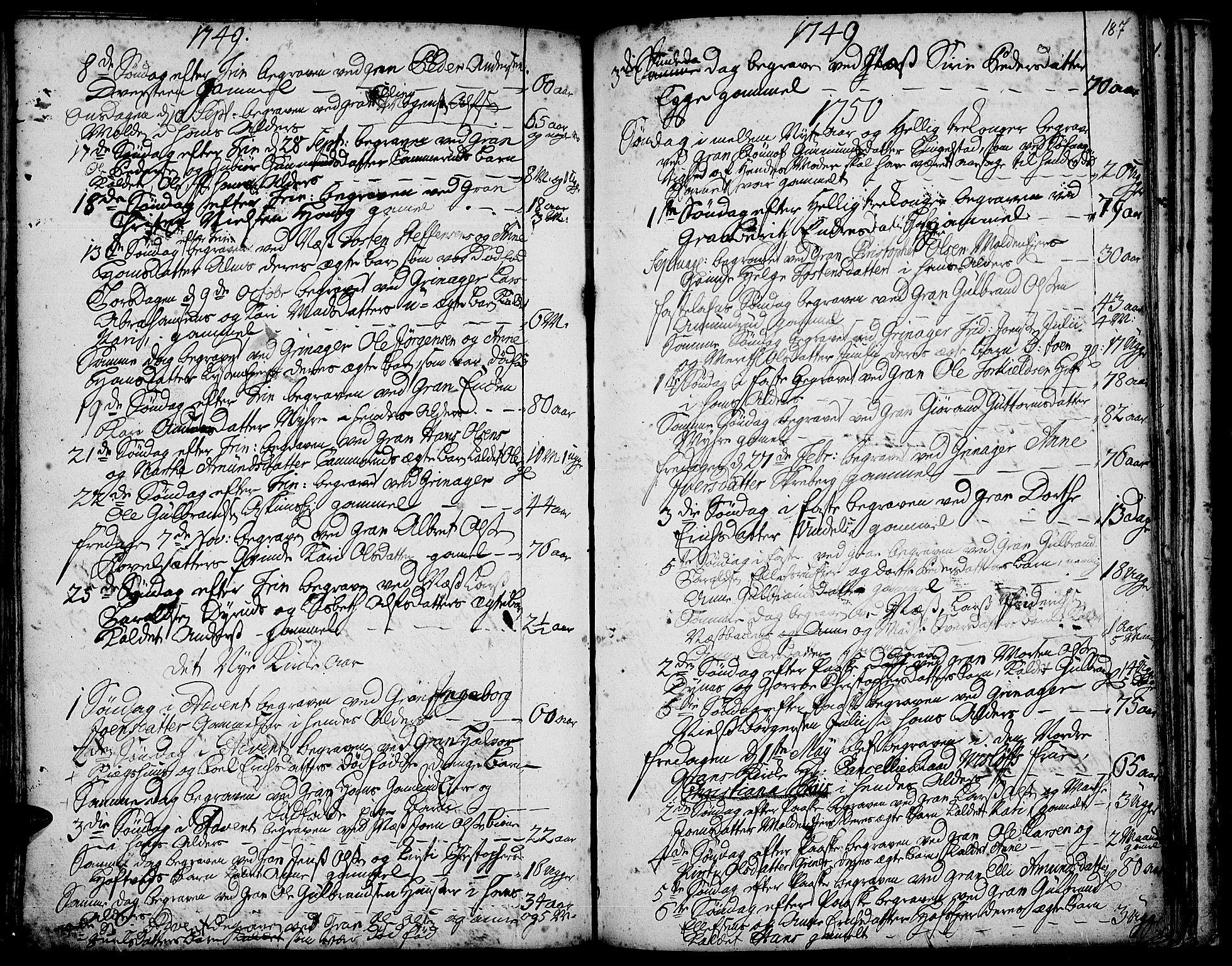 SAH, Gran prestekontor, Ministerialbok nr. 3, 1745-1758, s. 187