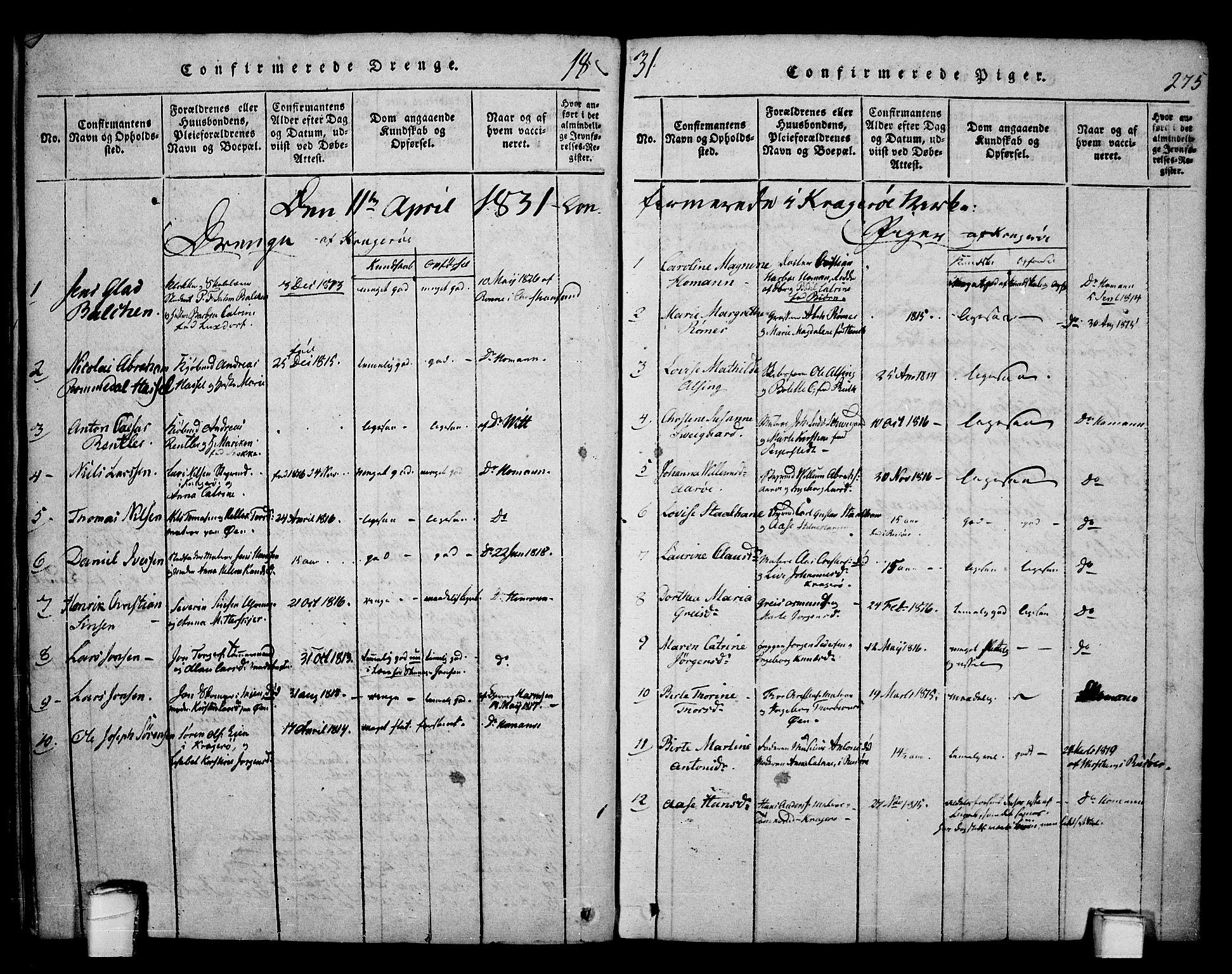 SAKO, Kragerø kirkebøker, F/Fa/L0004: Ministerialbok nr. 4, 1814-1831, s. 275