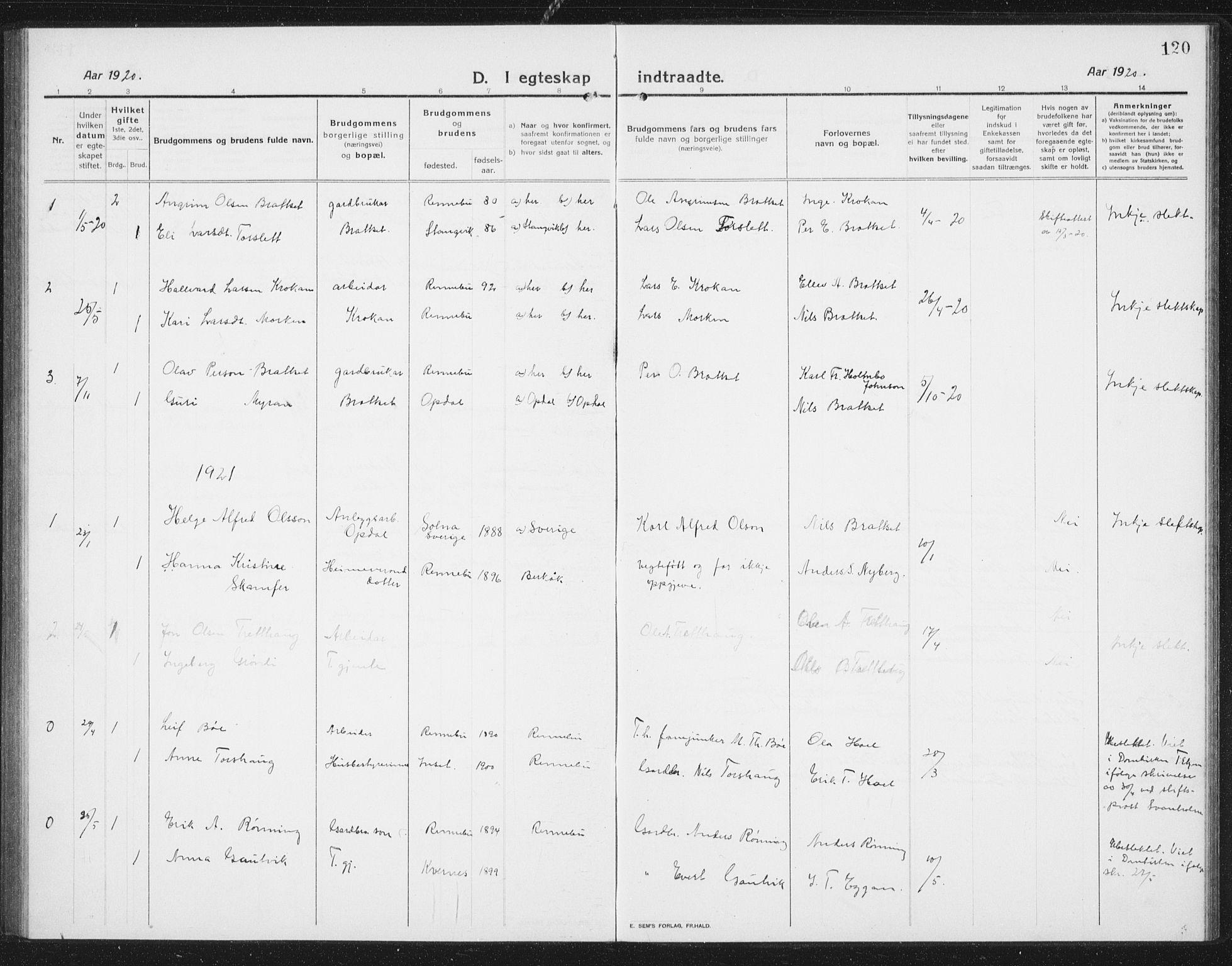 SAT, Ministerialprotokoller, klokkerbøker og fødselsregistre - Sør-Trøndelag, 675/L0888: Klokkerbok nr. 675C01, 1913-1935, s. 120