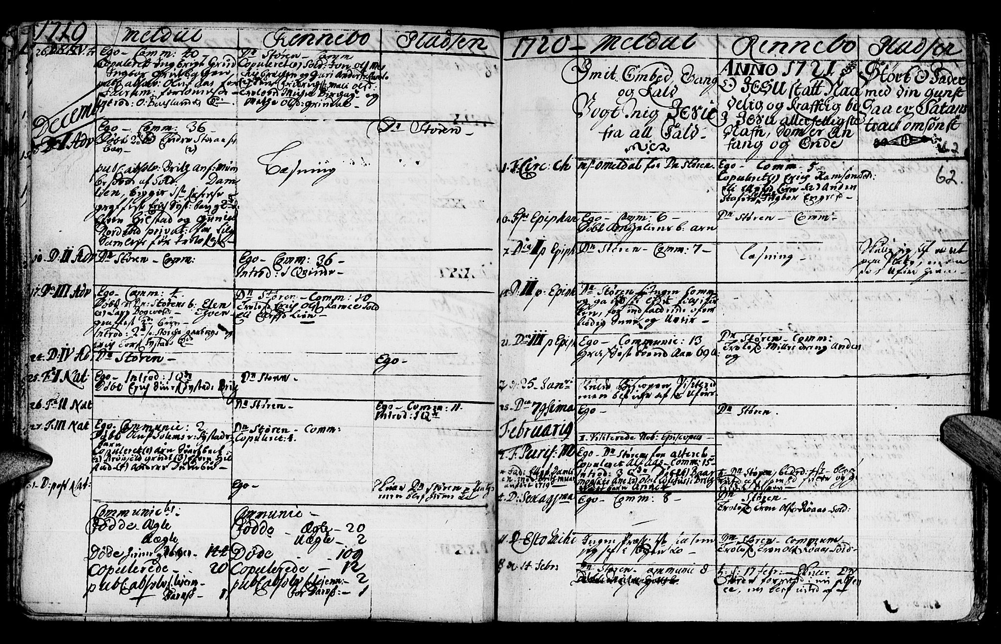 SAT, Ministerialprotokoller, klokkerbøker og fødselsregistre - Sør-Trøndelag, 672/L0849: Ministerialbok nr. 672A02, 1705-1725, s. 62