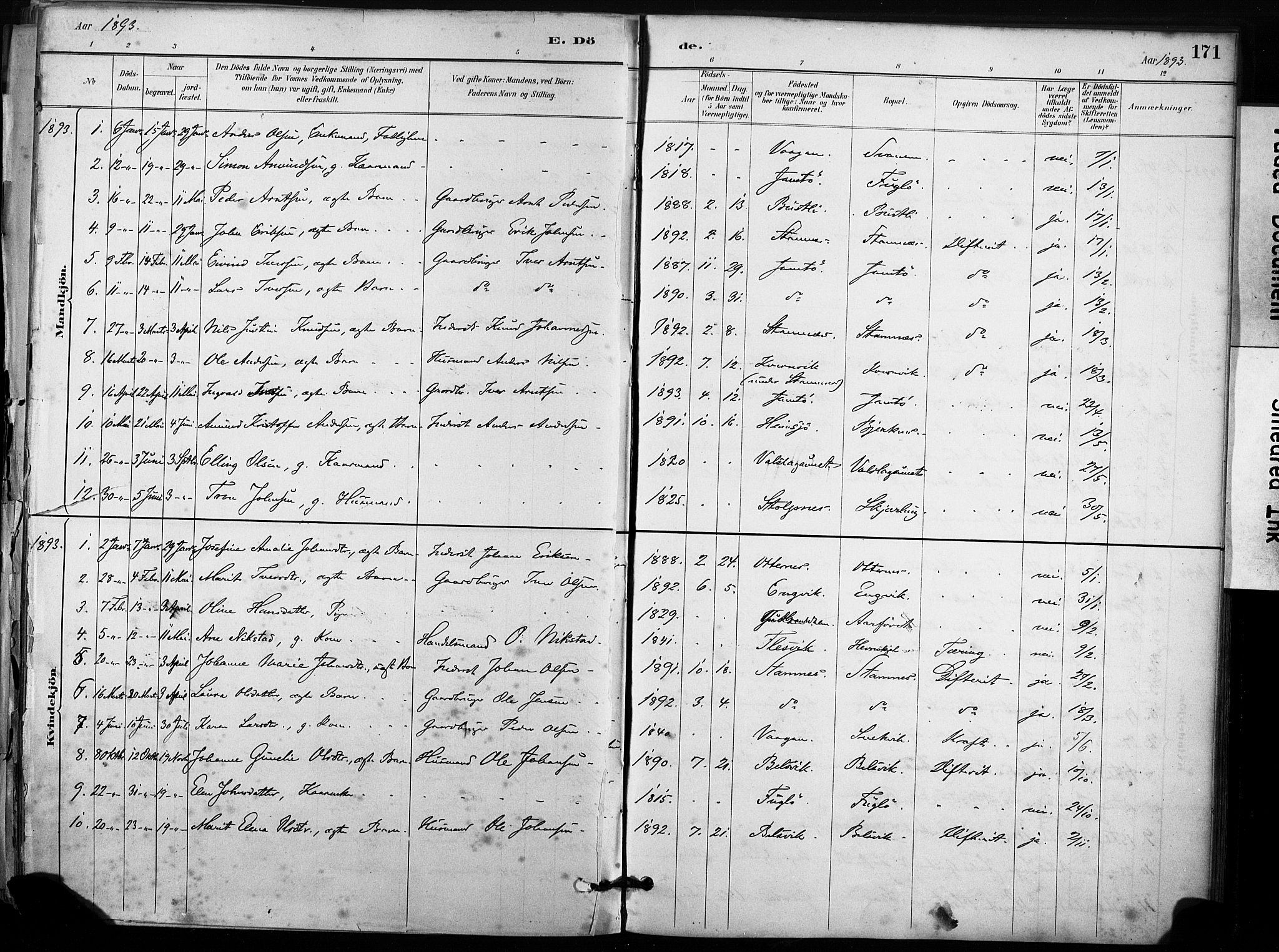 SAT, Ministerialprotokoller, klokkerbøker og fødselsregistre - Sør-Trøndelag, 633/L0518: Ministerialbok nr. 633A01, 1884-1906, s. 171