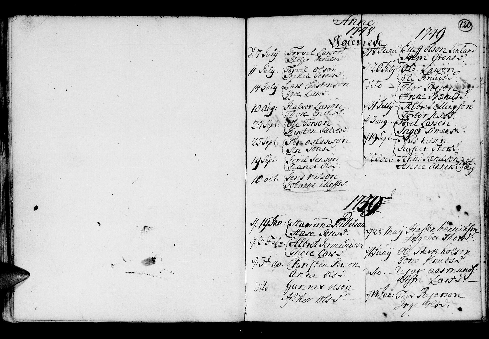 SAK, Holt sokneprestkontor, F/Fb/L0005: Klokkerbok nr. B 5, 1746-1764, s. 120