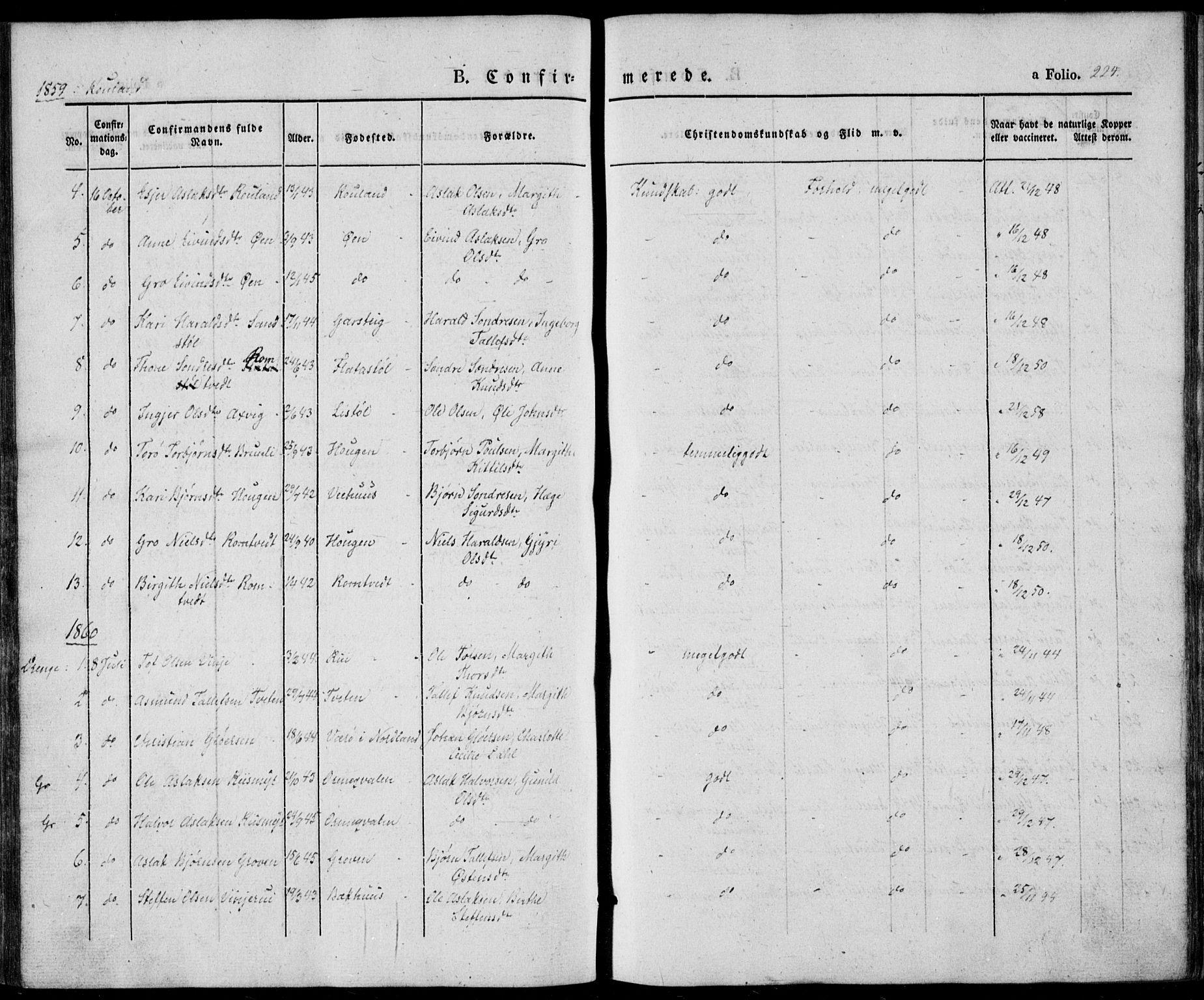 SAKO, Vinje kirkebøker, F/Fa/L0004: Ministerialbok nr. I 4, 1843-1869, s. 224