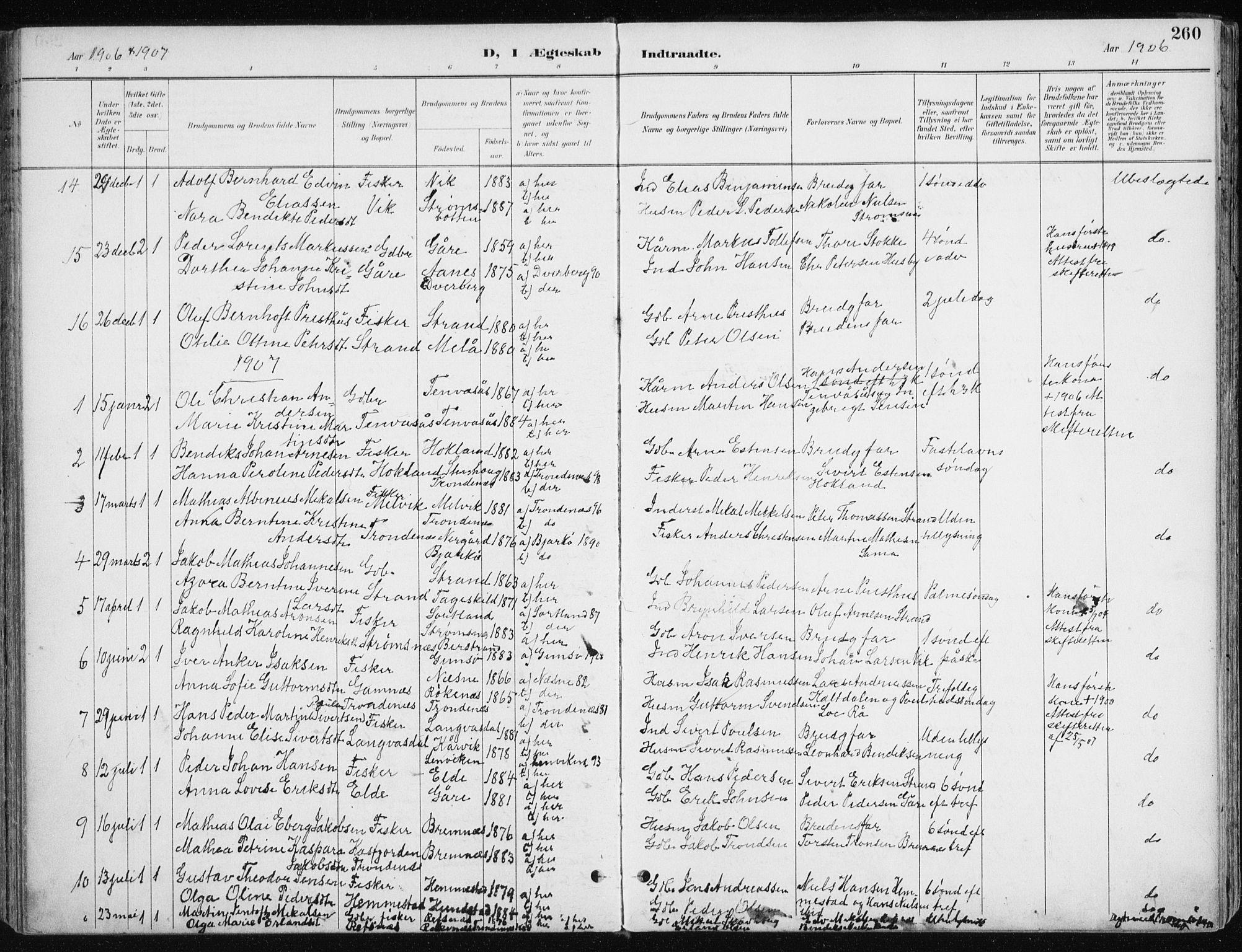 SATØ, Kvæfjord sokneprestkontor, G/Ga/Gaa/L0006kirke: Ministerialbok nr. 6, 1895-1914, s. 260