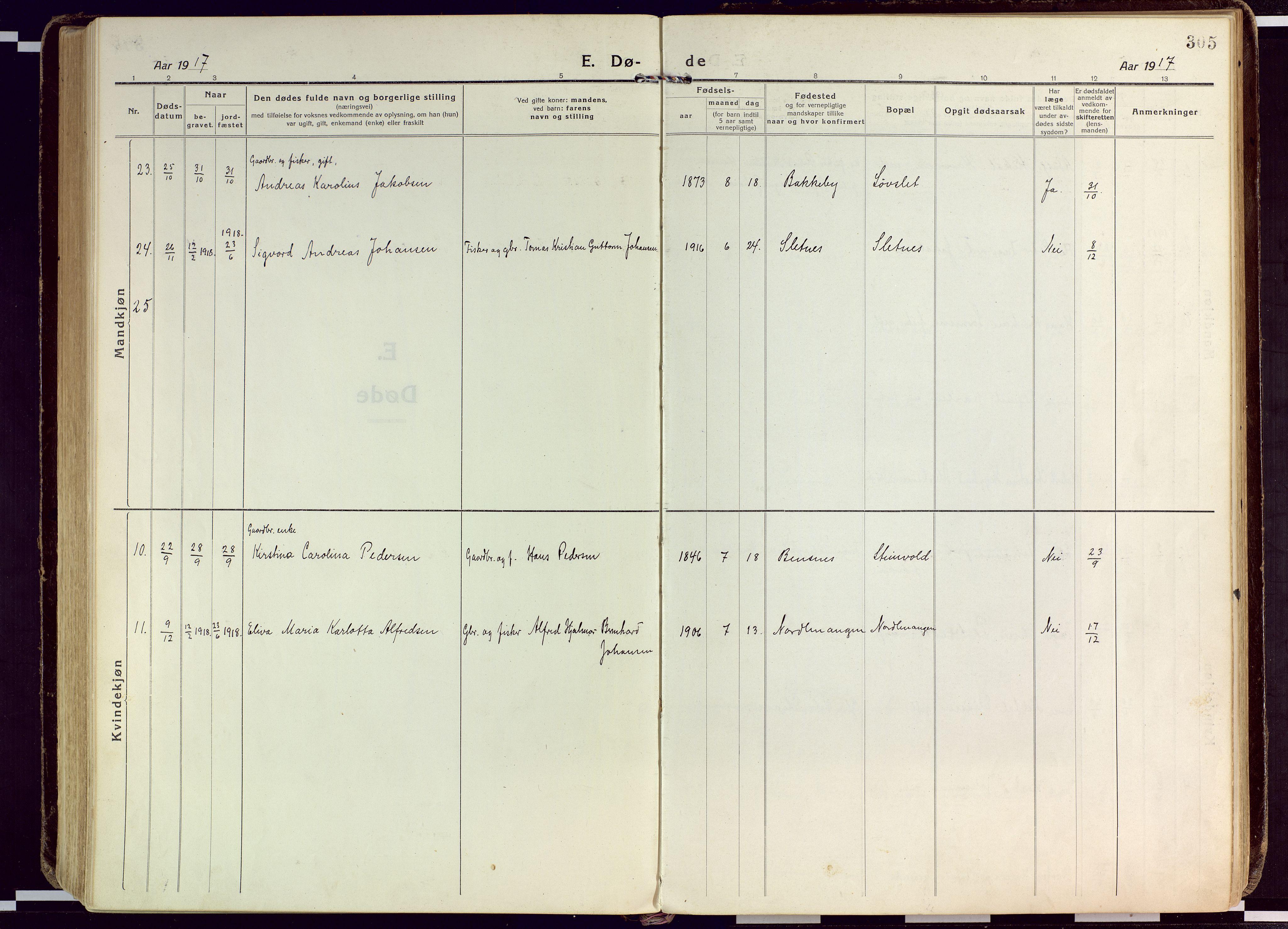 SATØ, Karlsøy sokneprestembete, Ministerialbok nr. 15, 1918-1929, s. 305