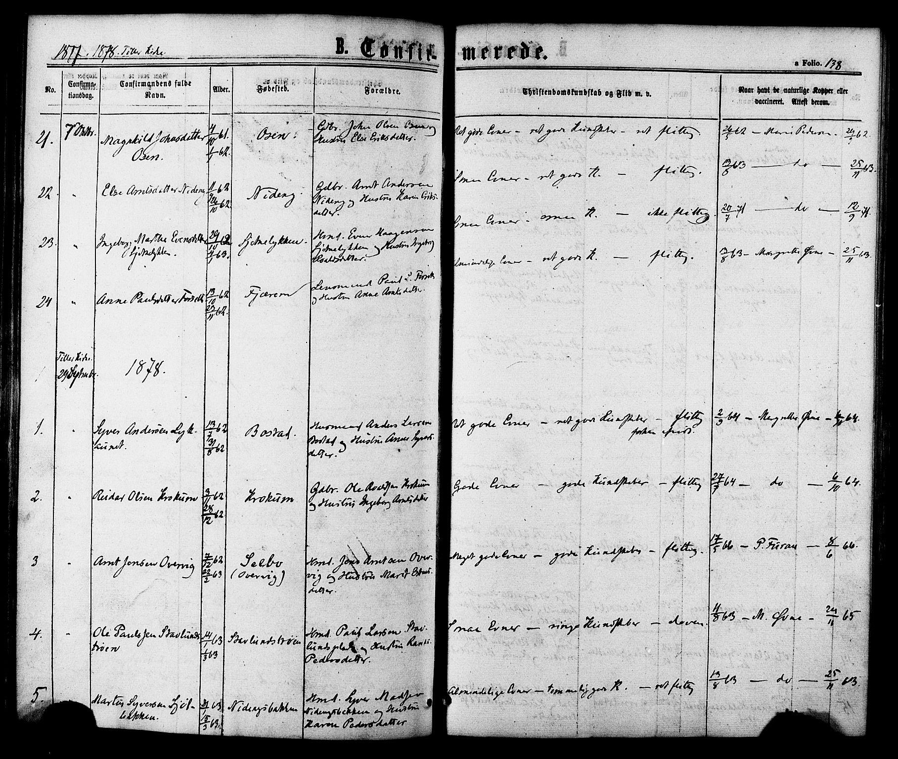 SAT, Ministerialprotokoller, klokkerbøker og fødselsregistre - Sør-Trøndelag, 618/L0442: Ministerialbok nr. 618A06 /1, 1863-1879, s. 138