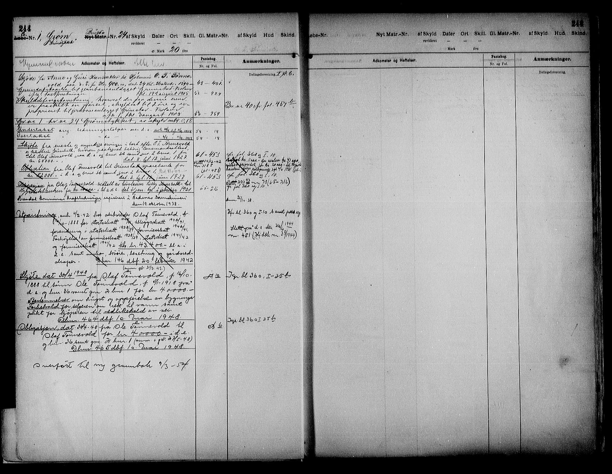 SAK, Vestre Nedenes/Sand sorenskriveri, G/Ga/L0018: Panteregister nr. 13b, 1872-1956, s. 244
