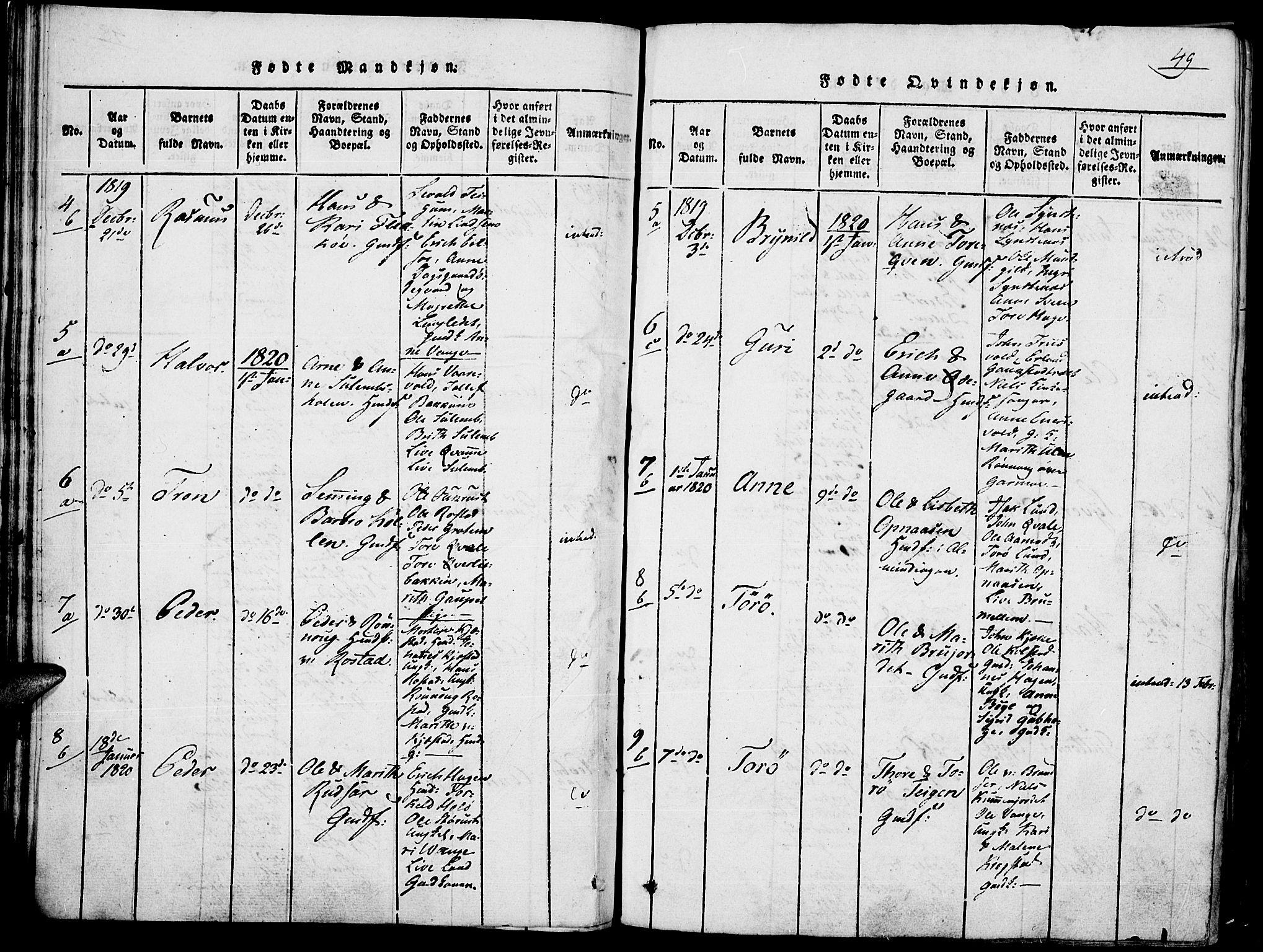 SAH, Lom prestekontor, K/L0004: Ministerialbok nr. 4, 1815-1825, s. 49