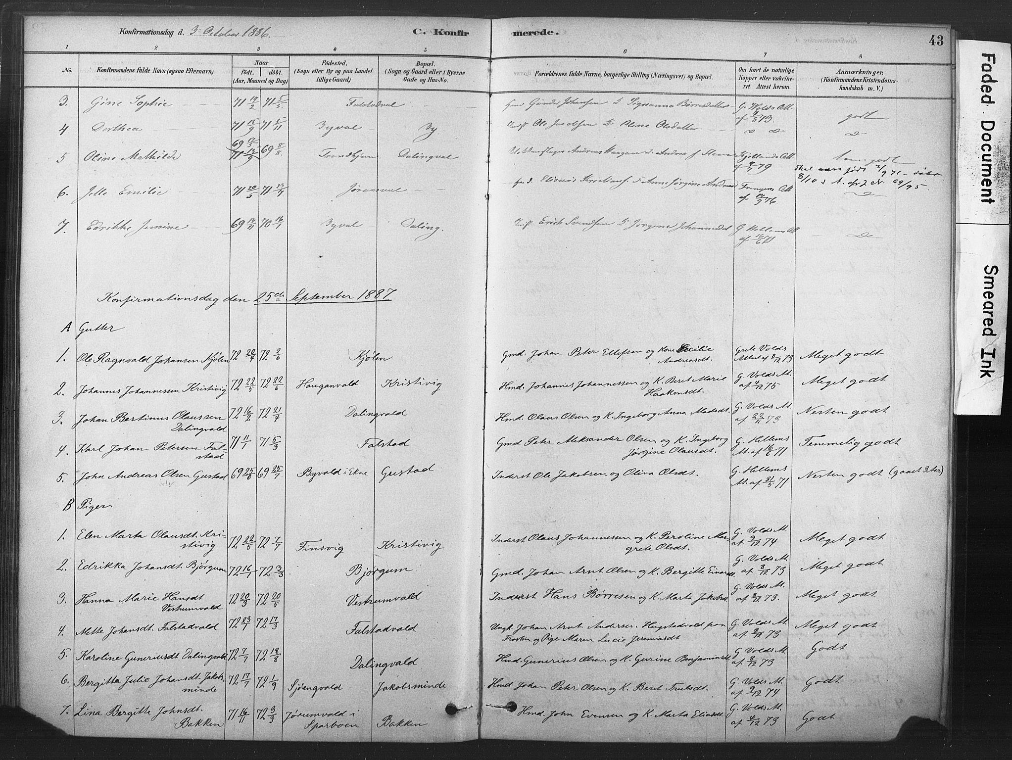 SAT, Ministerialprotokoller, klokkerbøker og fødselsregistre - Nord-Trøndelag, 719/L0178: Ministerialbok nr. 719A01, 1878-1900, s. 43