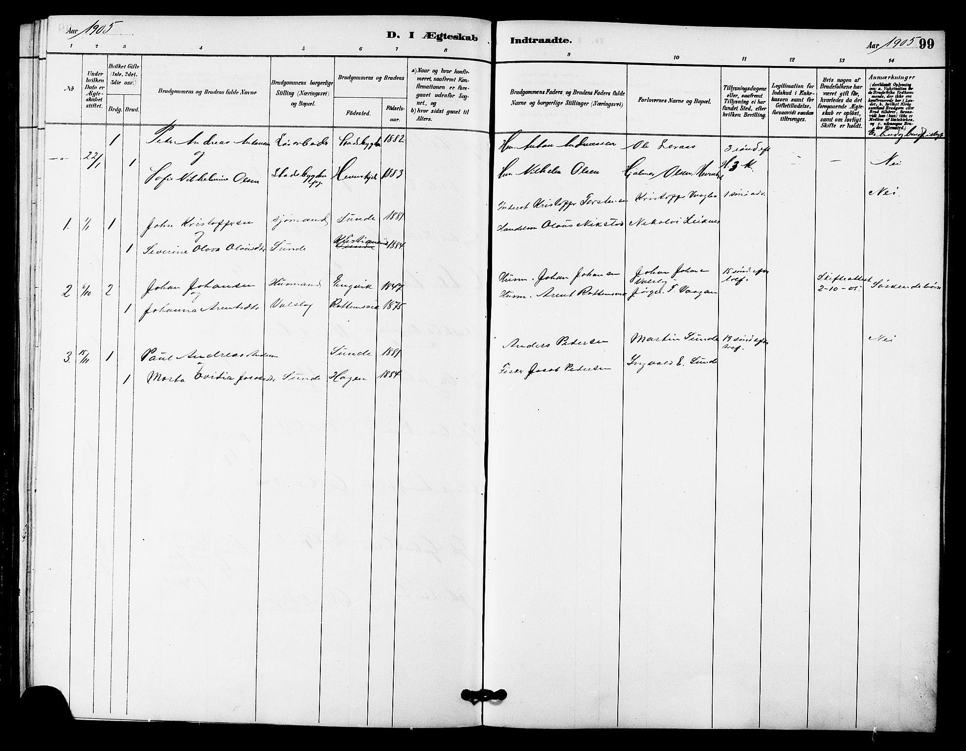 SAT, Ministerialprotokoller, klokkerbøker og fødselsregistre - Sør-Trøndelag, 633/L0519: Klokkerbok nr. 633C01, 1884-1905, s. 99