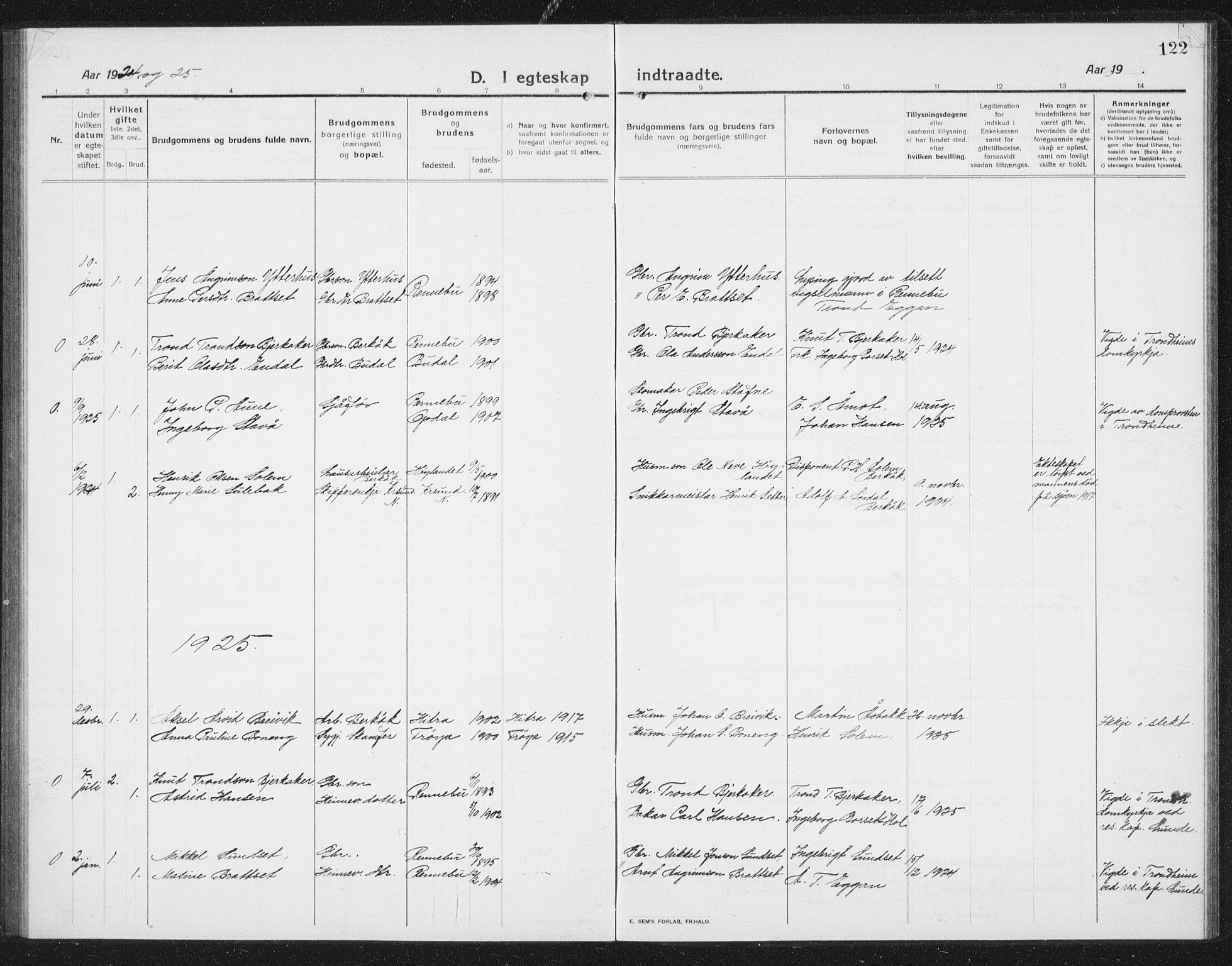 SAT, Ministerialprotokoller, klokkerbøker og fødselsregistre - Sør-Trøndelag, 675/L0888: Klokkerbok nr. 675C01, 1913-1935, s. 122