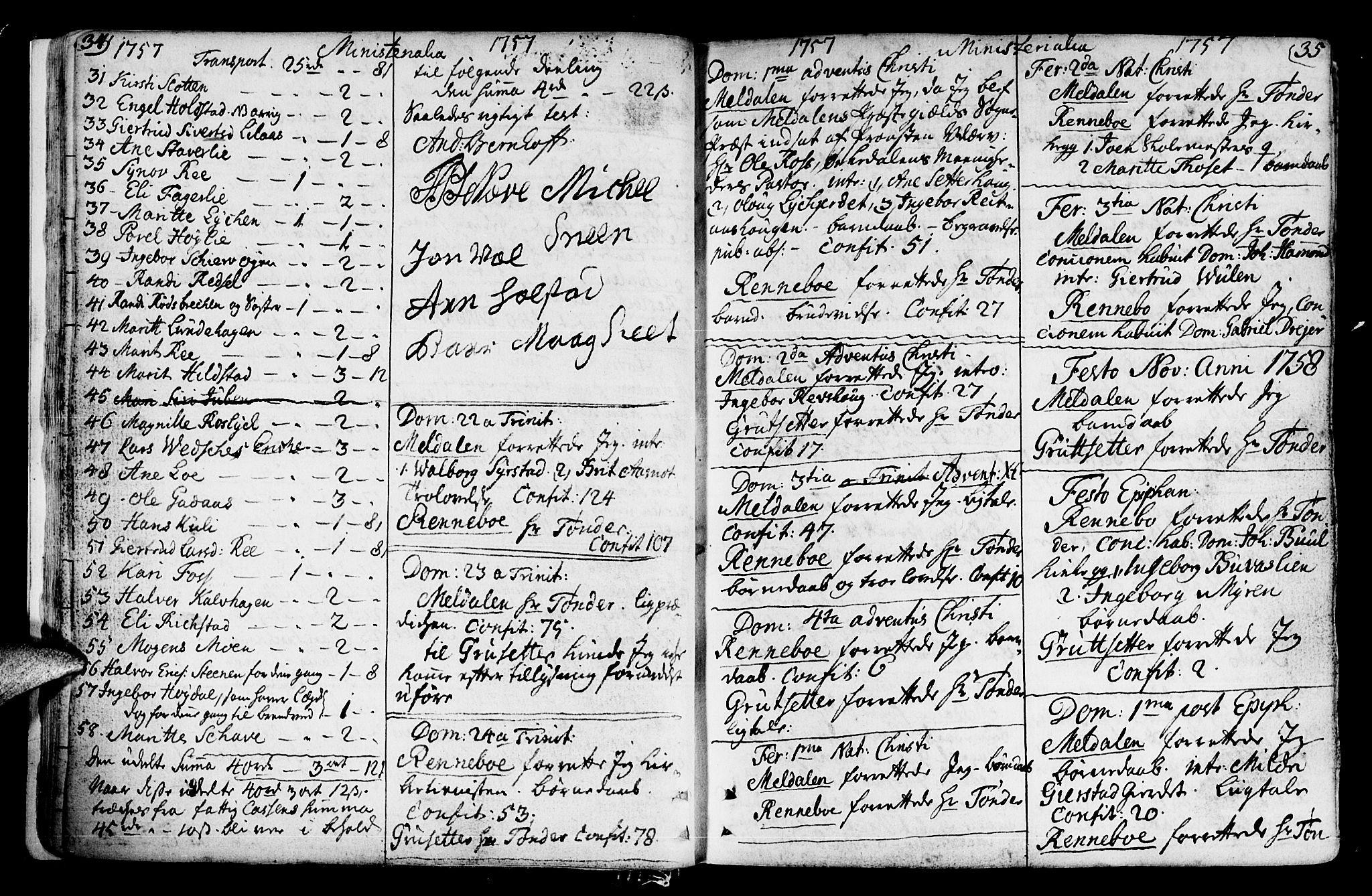 SAT, Ministerialprotokoller, klokkerbøker og fødselsregistre - Sør-Trøndelag, 672/L0851: Ministerialbok nr. 672A04, 1751-1775, s. 34-35