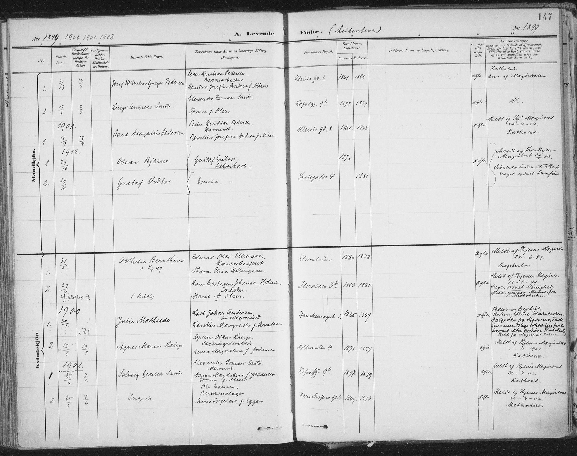 SAT, Ministerialprotokoller, klokkerbøker og fødselsregistre - Sør-Trøndelag, 603/L0167: Ministerialbok nr. 603A06, 1896-1932, s. 147