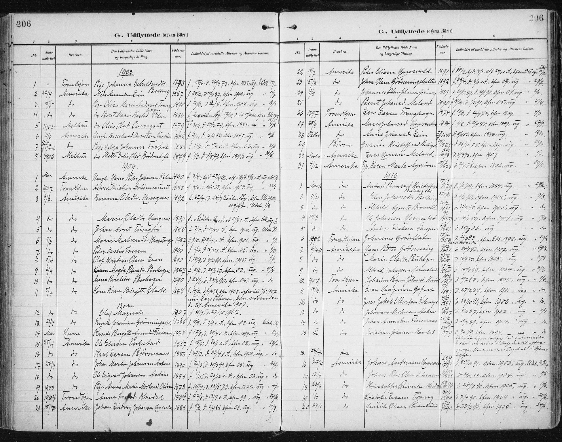 SAT, Ministerialprotokoller, klokkerbøker og fødselsregistre - Sør-Trøndelag, 646/L0616: Ministerialbok nr. 646A14, 1900-1918, s. 206