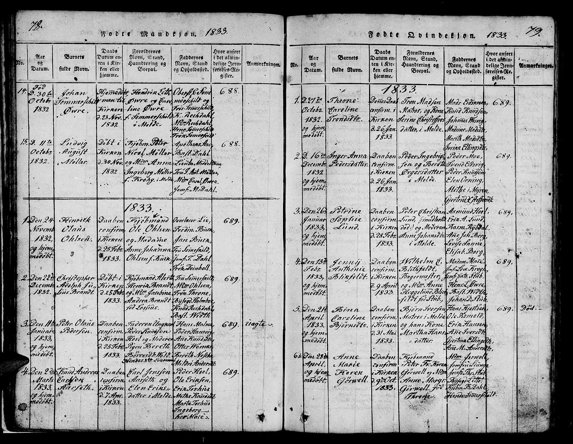 SAT, Ministerialprotokoller, klokkerbøker og fødselsregistre - Møre og Romsdal, 558/L0700: Klokkerbok nr. 558C01, 1818-1868, s. 78-79