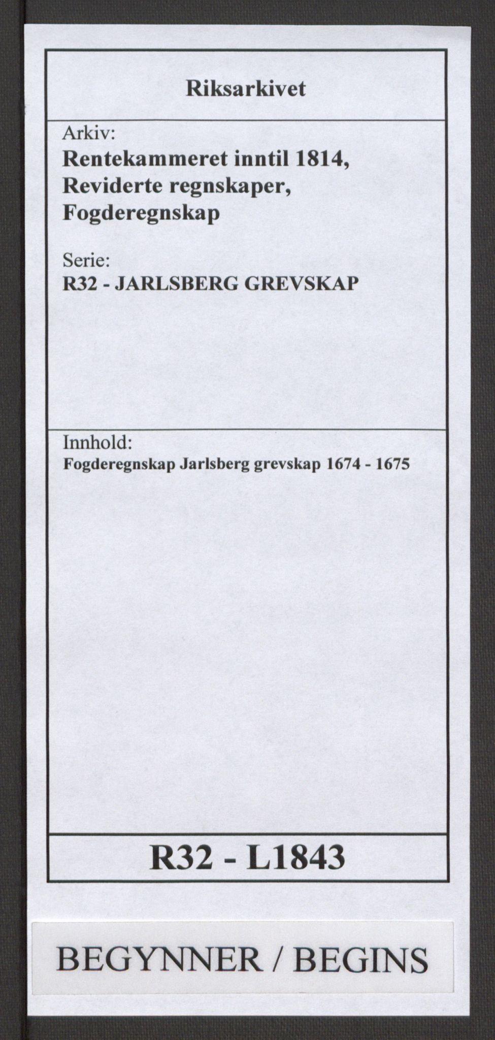 RA, Rentekammeret inntil 1814, Reviderte regnskaper, Fogderegnskap, R32/L1843: Fogderegnskap Jarlsberg grevskap, 1674-1675, s. 1