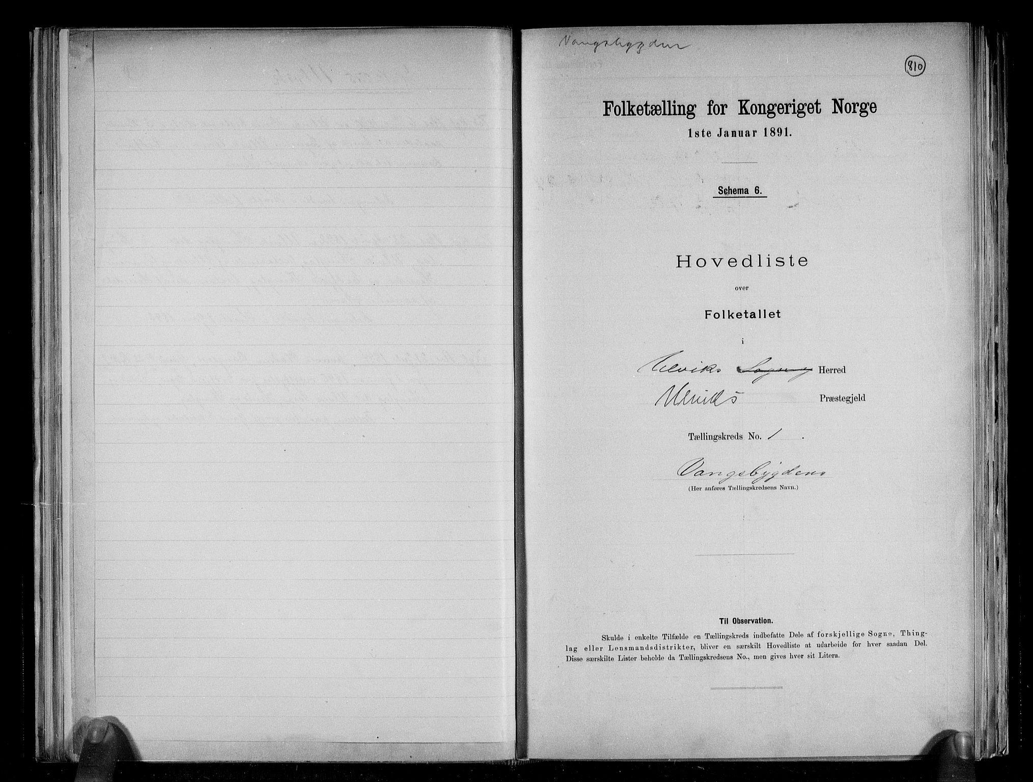 RA, Folketelling 1891 for 1233 Ulvik herred, 1891, s. 5