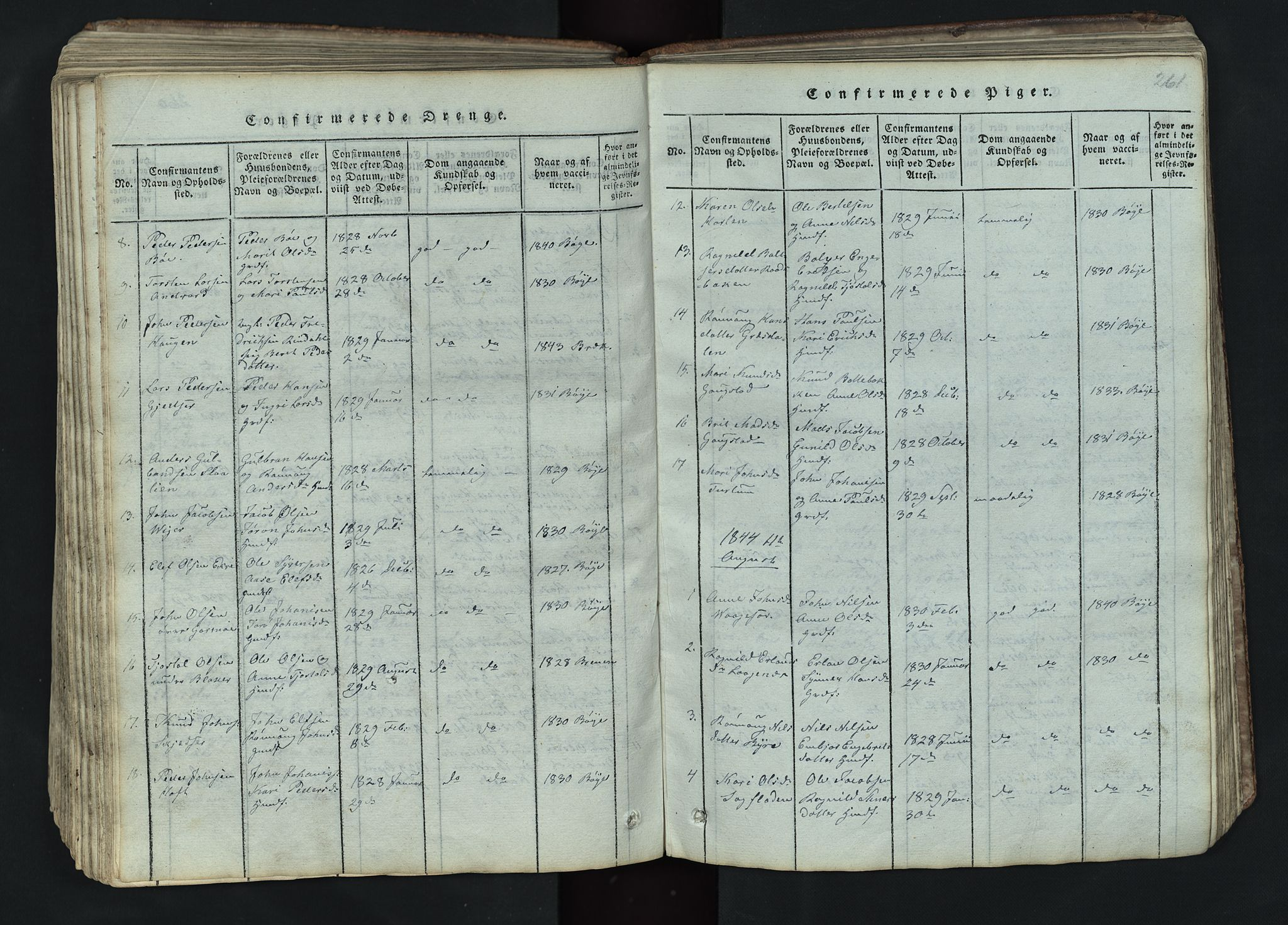SAH, Lom prestekontor, L/L0002: Klokkerbok nr. 2, 1815-1844, s. 261