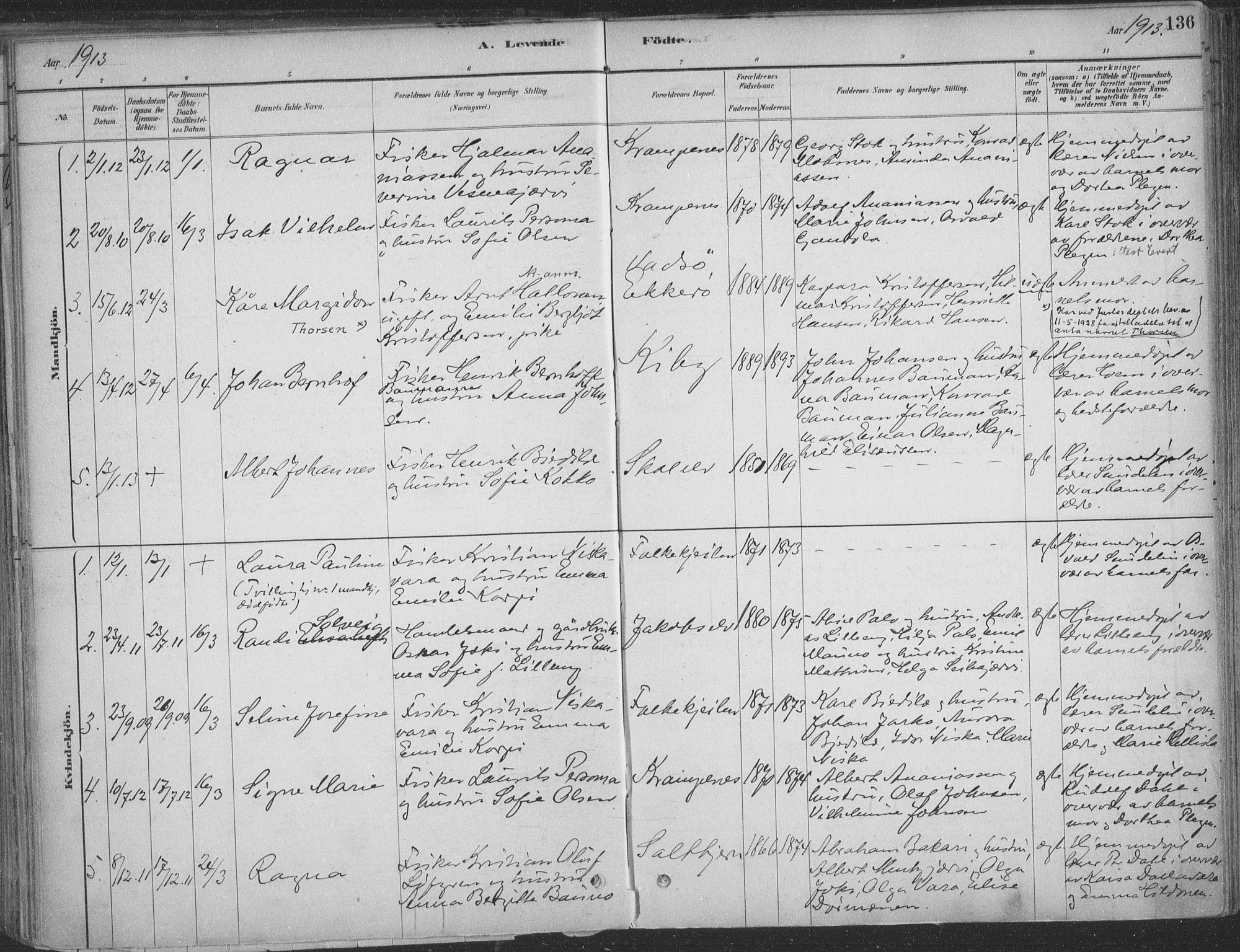 SATØ, Vadsø sokneprestkontor, H/Ha/L0009kirke: Ministerialbok nr. 9, 1881-1917, s. 136