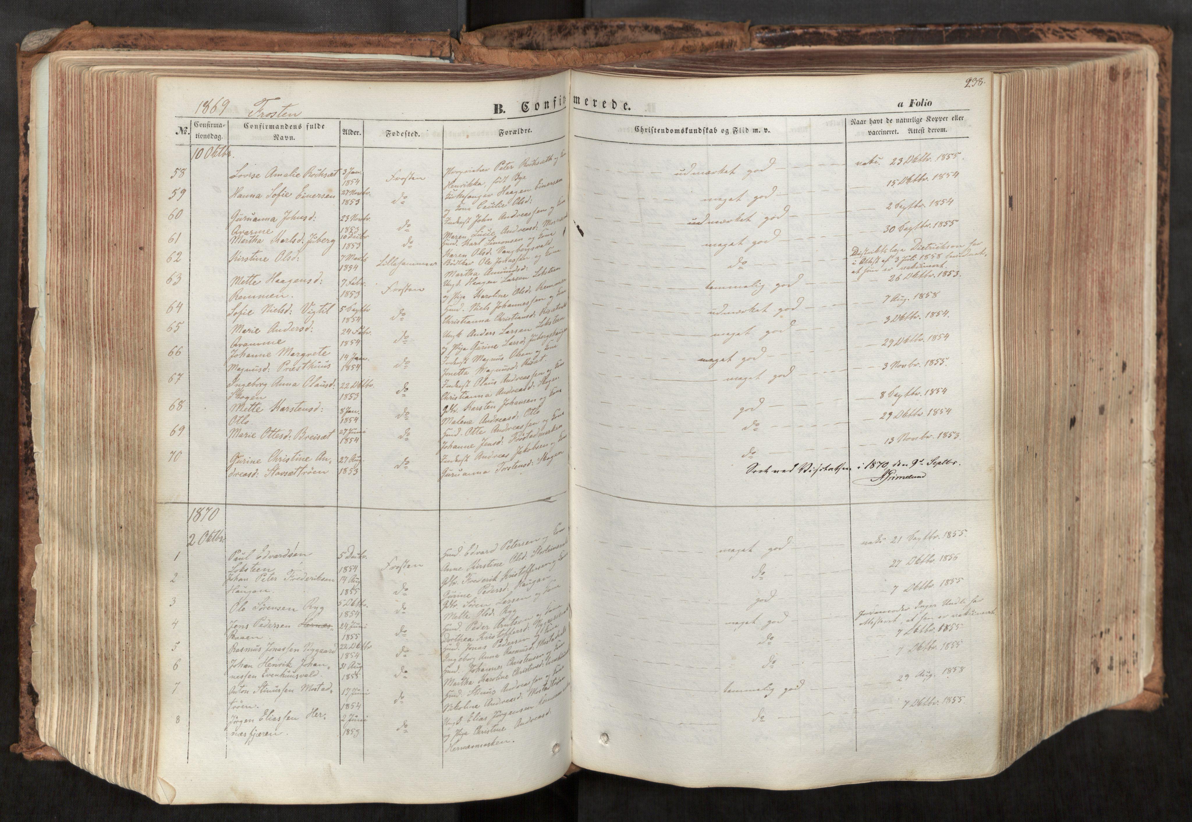 SAT, Ministerialprotokoller, klokkerbøker og fødselsregistre - Nord-Trøndelag, 713/L0116: Ministerialbok nr. 713A07, 1850-1877, s. 238