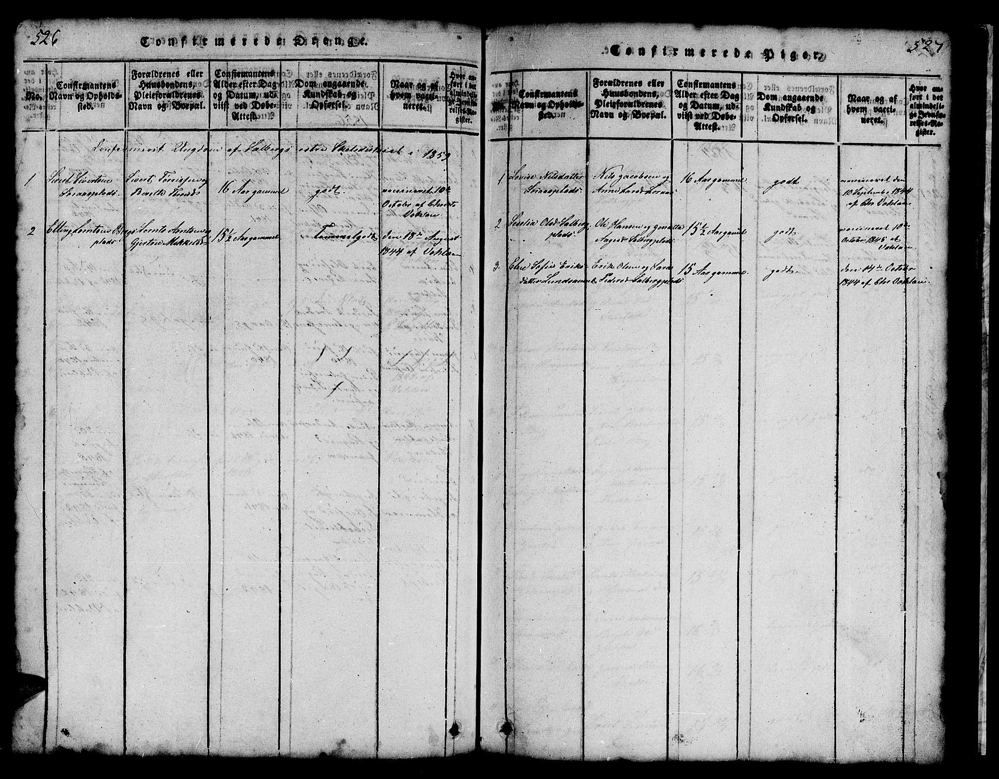 SAT, Ministerialprotokoller, klokkerbøker og fødselsregistre - Nord-Trøndelag, 731/L0310: Klokkerbok nr. 731C01, 1816-1874, s. 526-527
