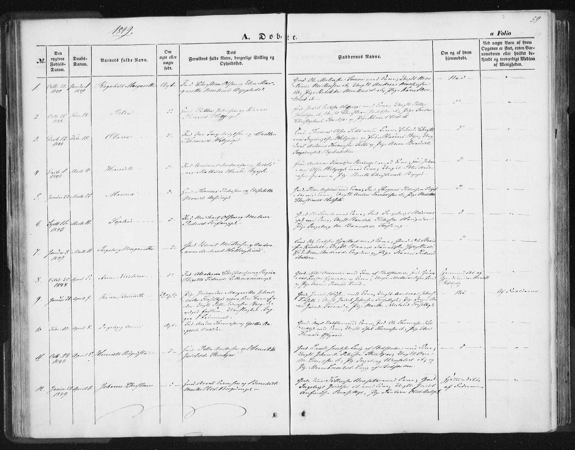 SAT, Ministerialprotokoller, klokkerbøker og fødselsregistre - Nord-Trøndelag, 746/L0446: Ministerialbok nr. 746A05, 1846-1859, s. 59