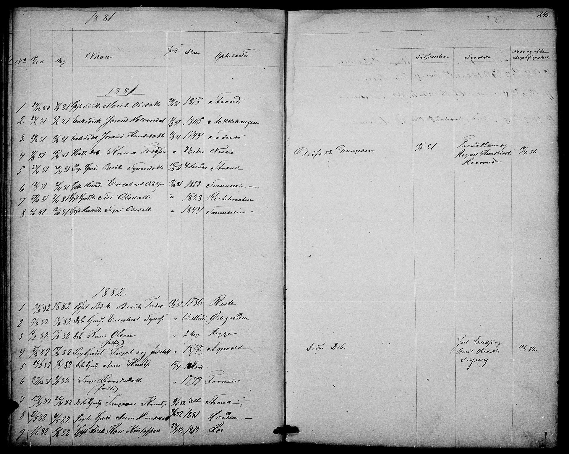 SAH, Nord-Aurdal prestekontor, Klokkerbok nr. 3, 1842-1882, s. 246