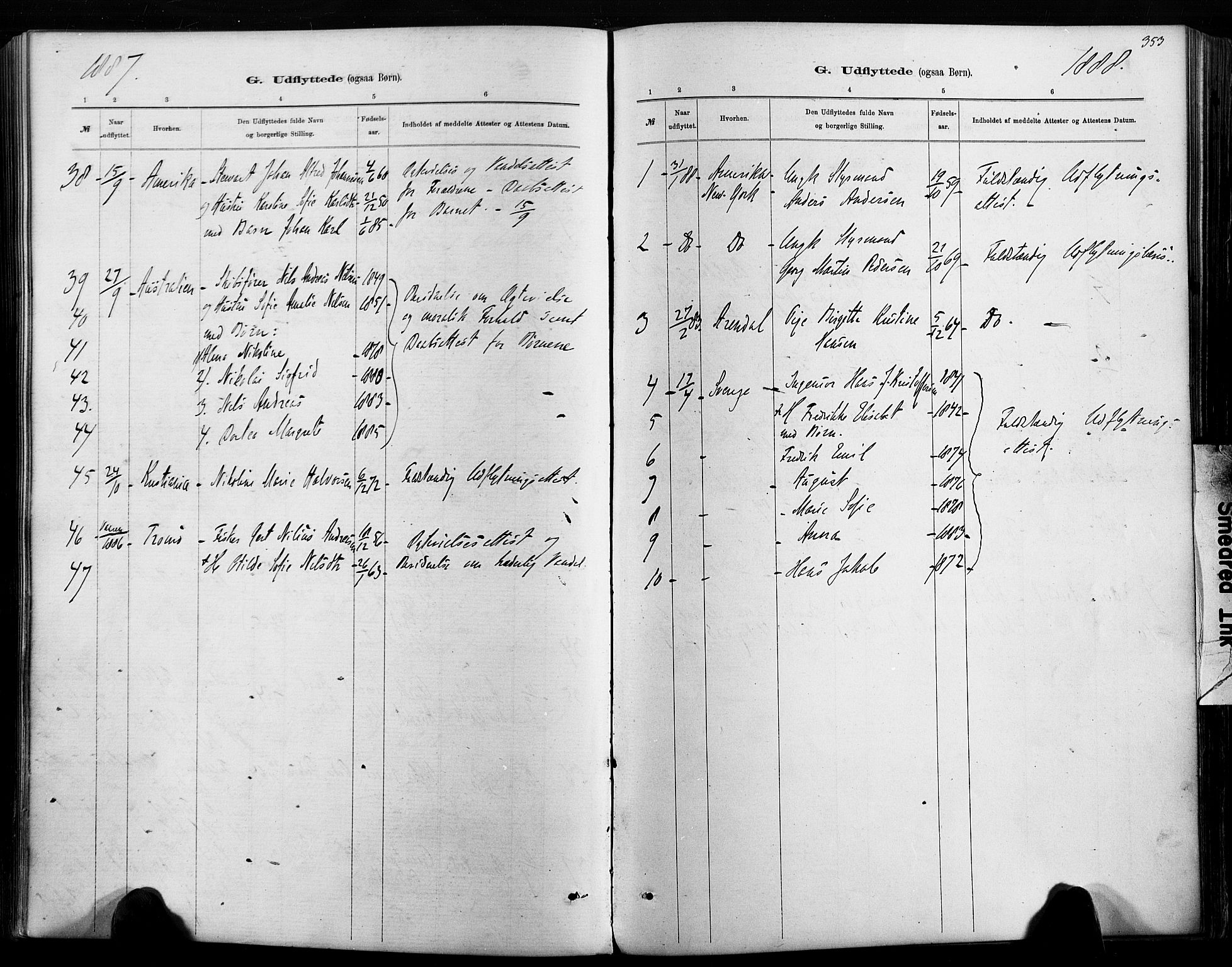 SAK, Hisøy sokneprestkontor, F/Fa/L0003: Ministerialbok nr. A 3, 1881-1894, s. 353