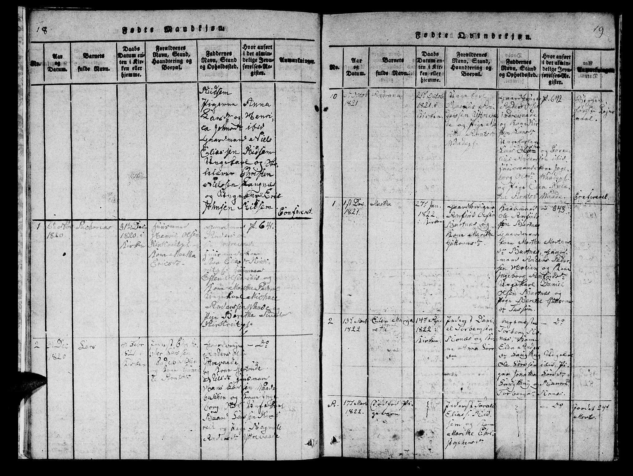 SAT, Ministerialprotokoller, klokkerbøker og fødselsregistre - Nord-Trøndelag, 745/L0433: Klokkerbok nr. 745C02, 1817-1825, s. 18-19