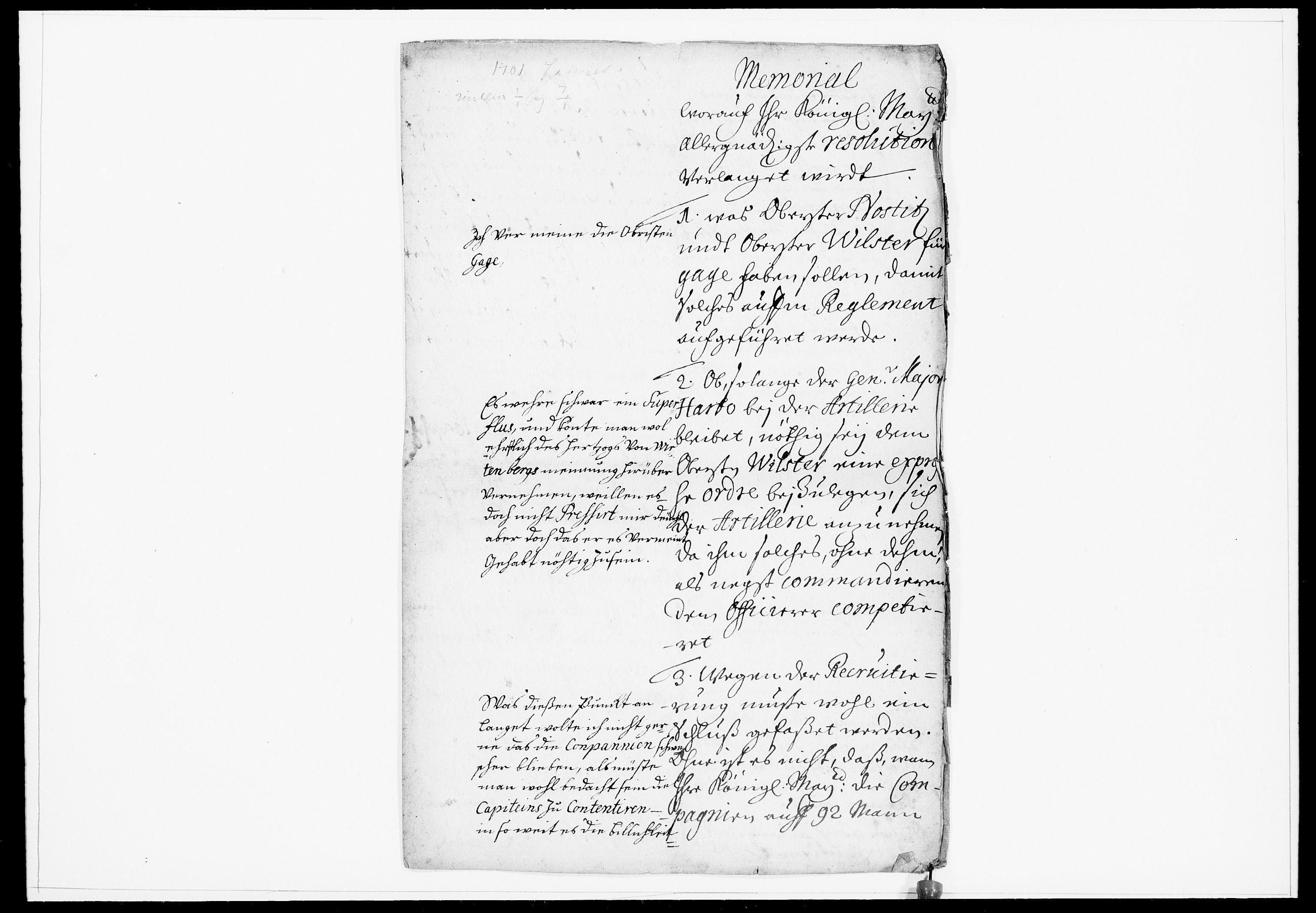 DRA, Krigskollegiet, Krigskancelliet, -/0923-0928: Refererede sager, 1701, s. 2