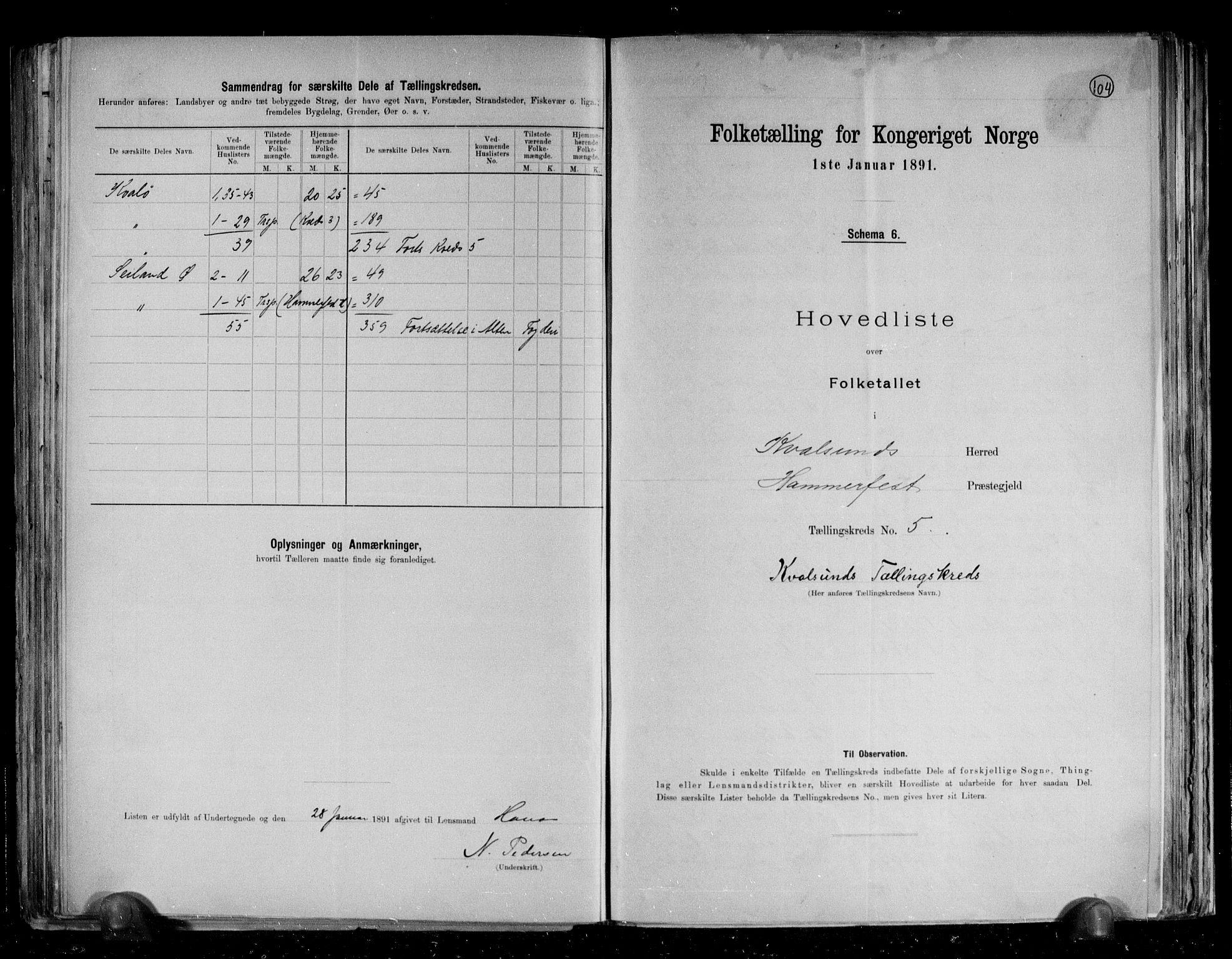 RA, Folketelling 1891 for 2017 Kvalsund herred, 1891, s. 8