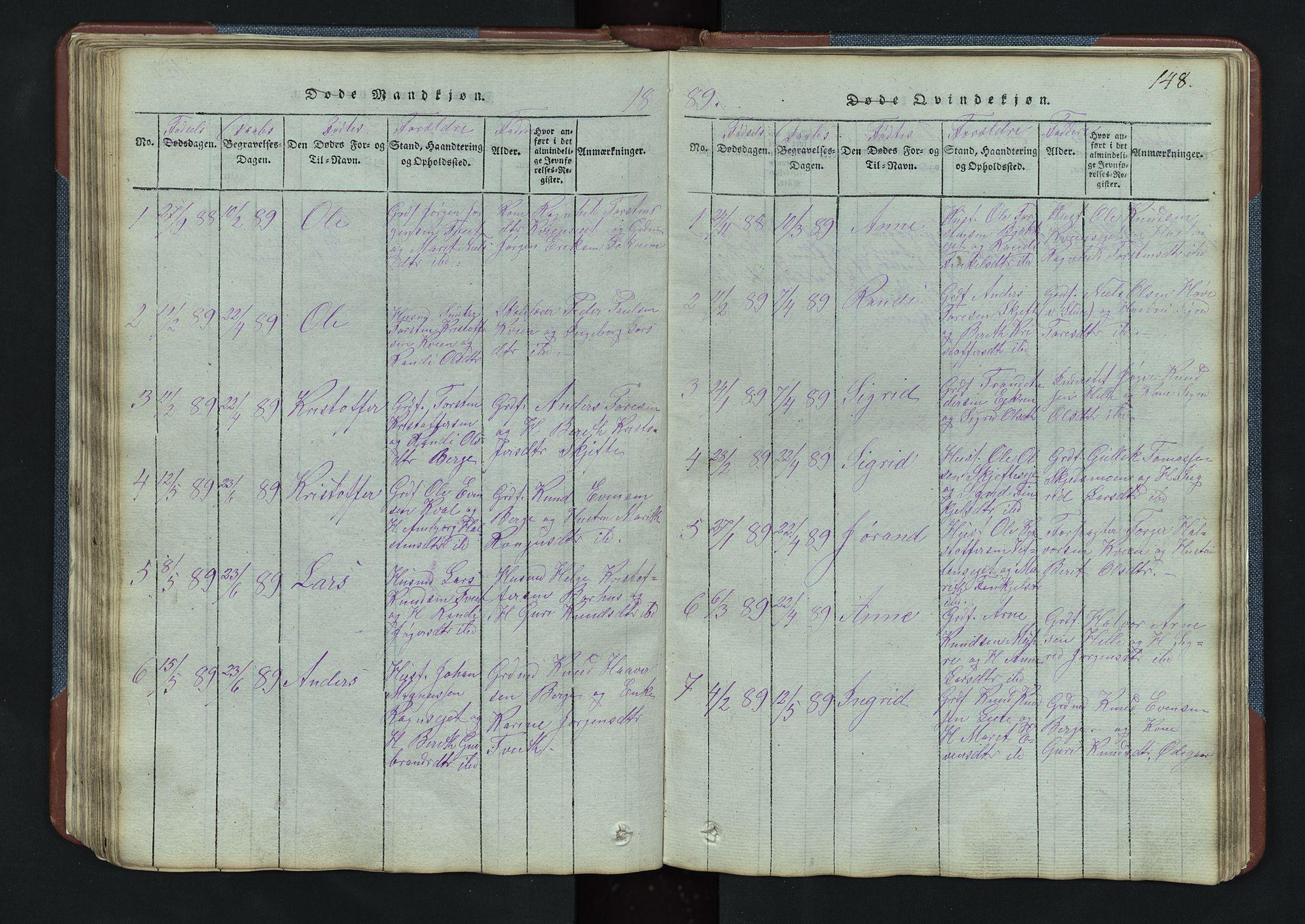 SAH, Vang prestekontor, Valdres, Klokkerbok nr. 3, 1814-1892, s. 148
