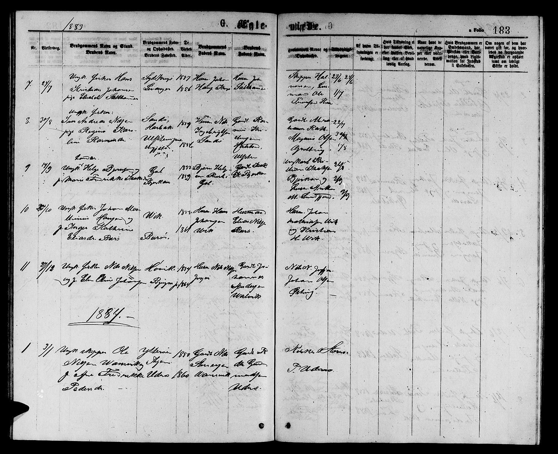 SAT, Ministerialprotokoller, klokkerbøker og fødselsregistre - Sør-Trøndelag, 657/L0715: Klokkerbok nr. 657C02, 1873-1888, s. 183