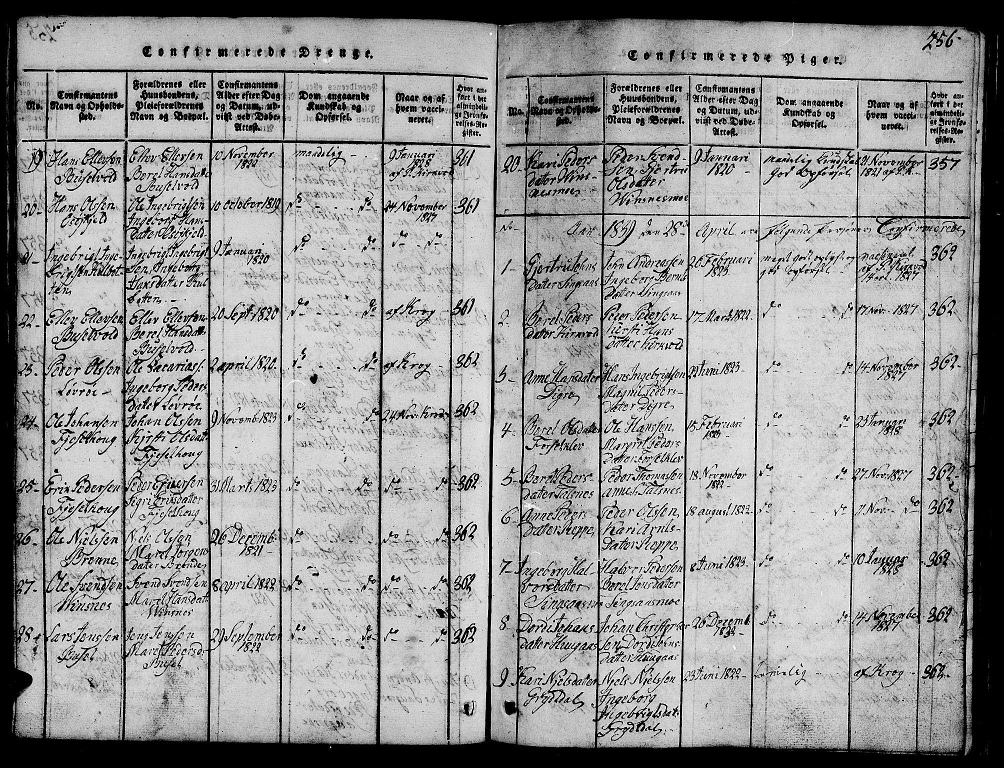 SAT, Ministerialprotokoller, klokkerbøker og fødselsregistre - Sør-Trøndelag, 688/L1026: Klokkerbok nr. 688C01, 1817-1860, s. 256