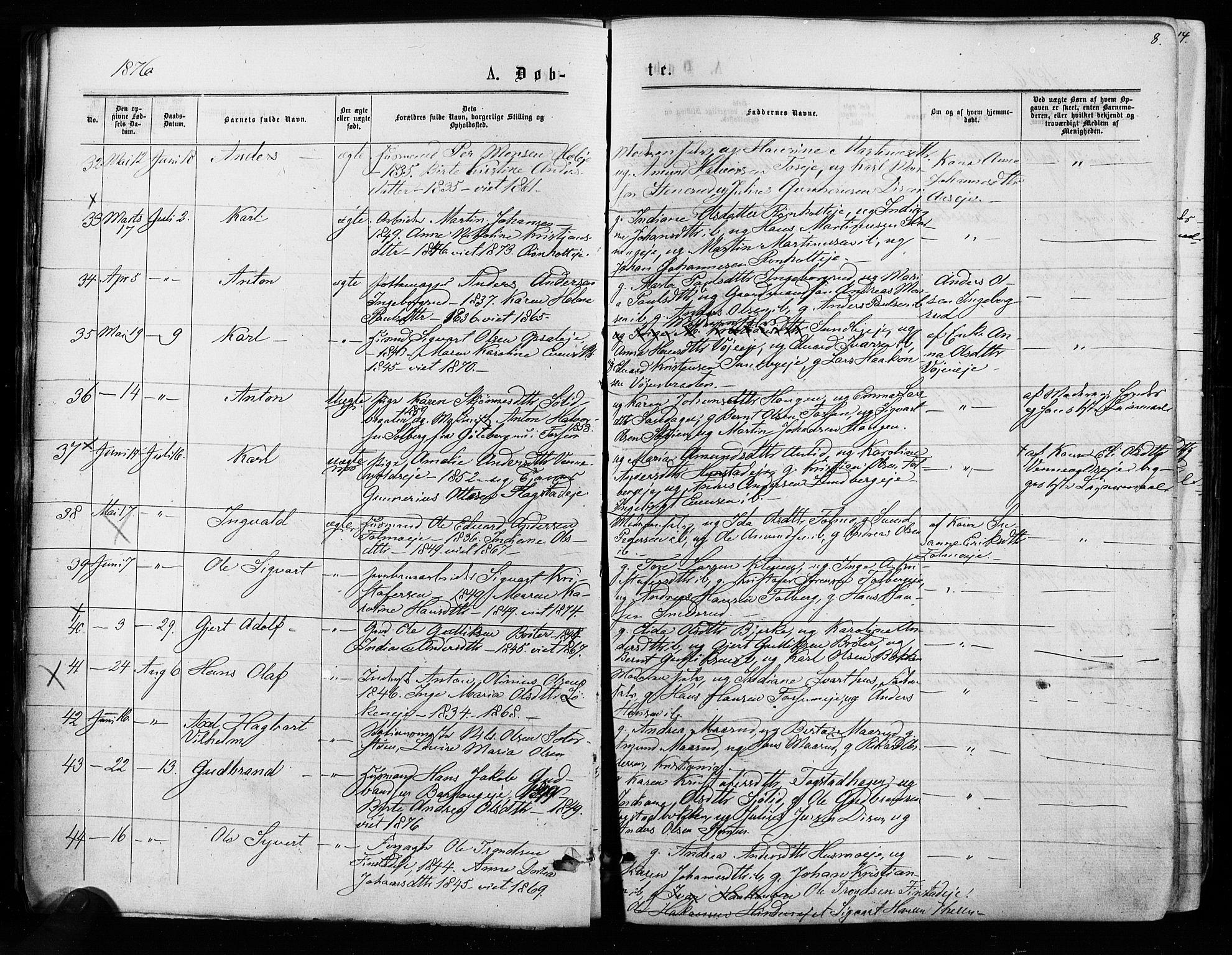 SAO, Nes prestekontor Kirkebøker, F/Fa/L0009: Ministerialbok nr. I 9, 1875-1882, s. 8