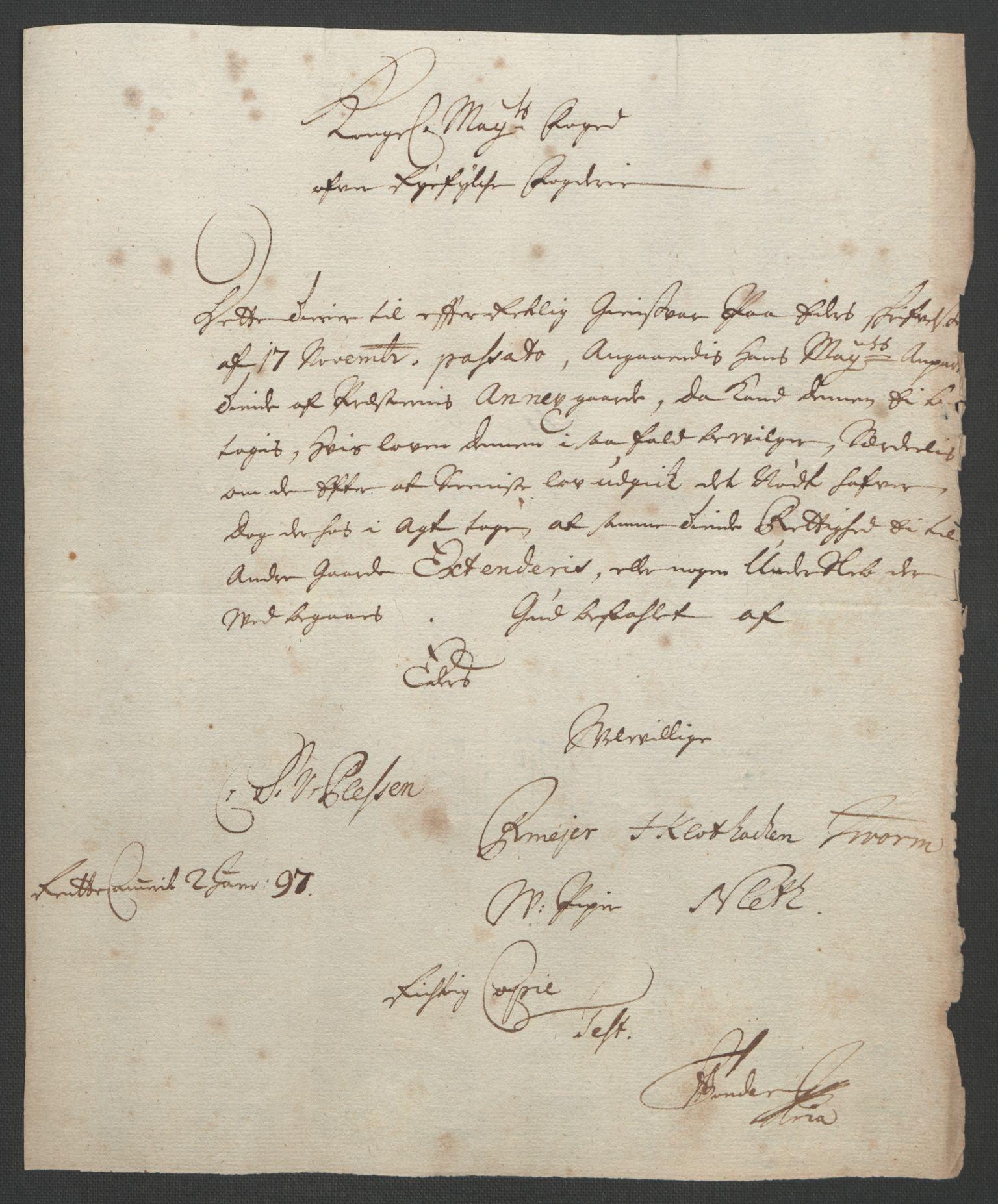 RA, Rentekammeret inntil 1814, Reviderte regnskaper, Fogderegnskap, R47/L2857: Fogderegnskap Ryfylke, 1694-1696, s. 305