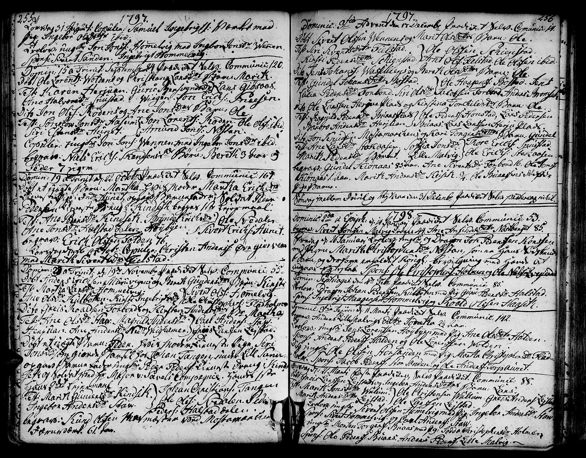 SAT, Ministerialprotokoller, klokkerbøker og fødselsregistre - Sør-Trøndelag, 606/L0281: Ministerialbok nr. 606A02 /2, 1781-1817, s. 255-256