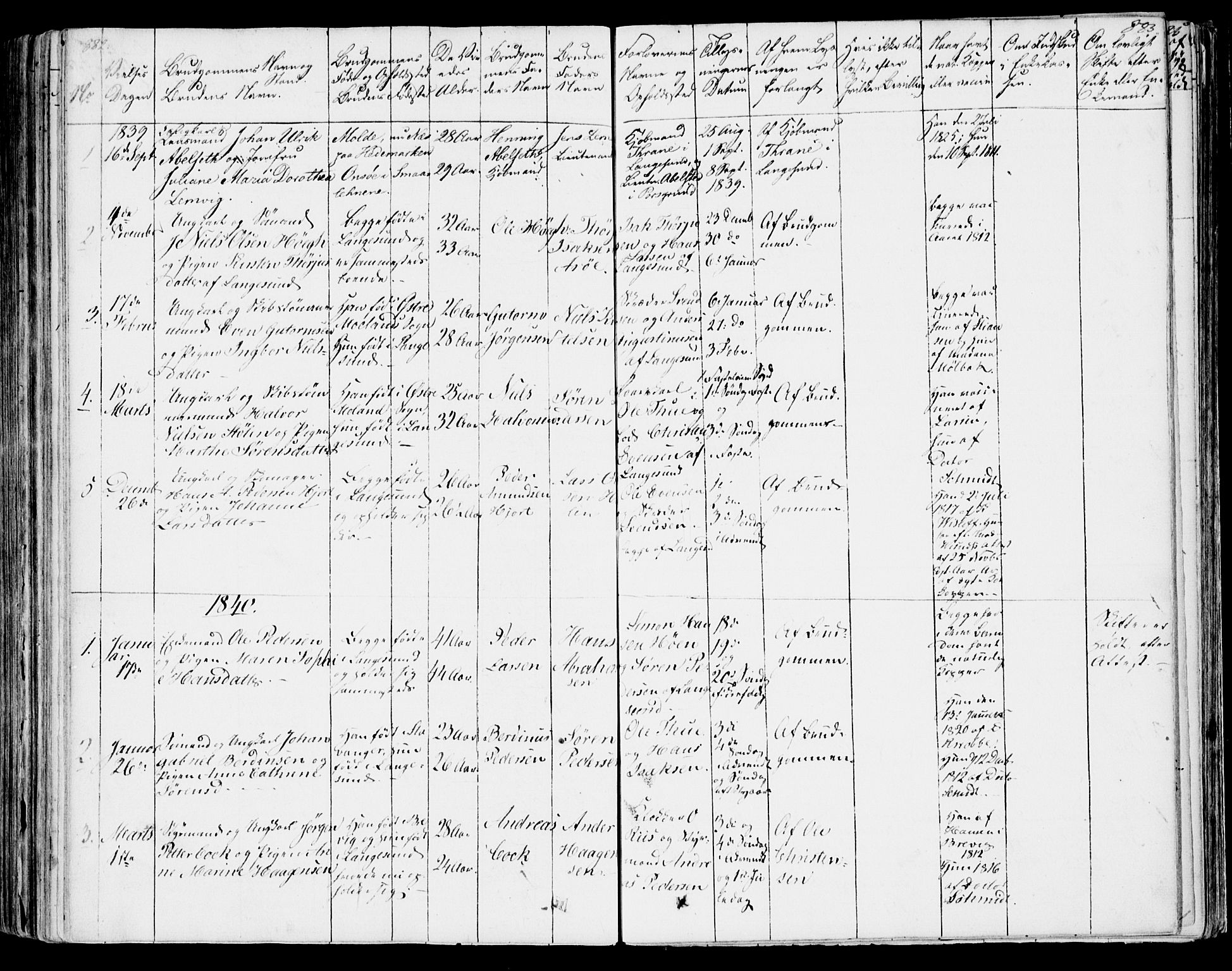 SAKO, Bamble kirkebøker, F/Fa/L0004: Ministerialbok nr. I 4, 1834-1853, s. 882-883