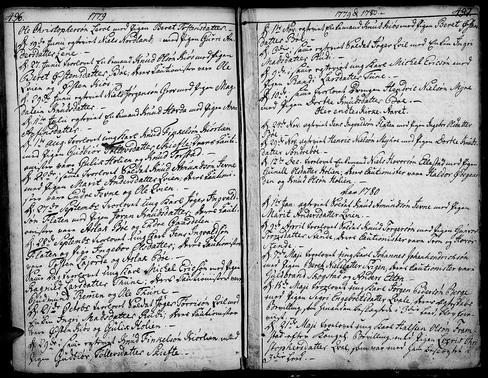 SAH, Vang prestekontor, Valdres, Ministerialbok nr. 1, 1730-1796, s. 496-497