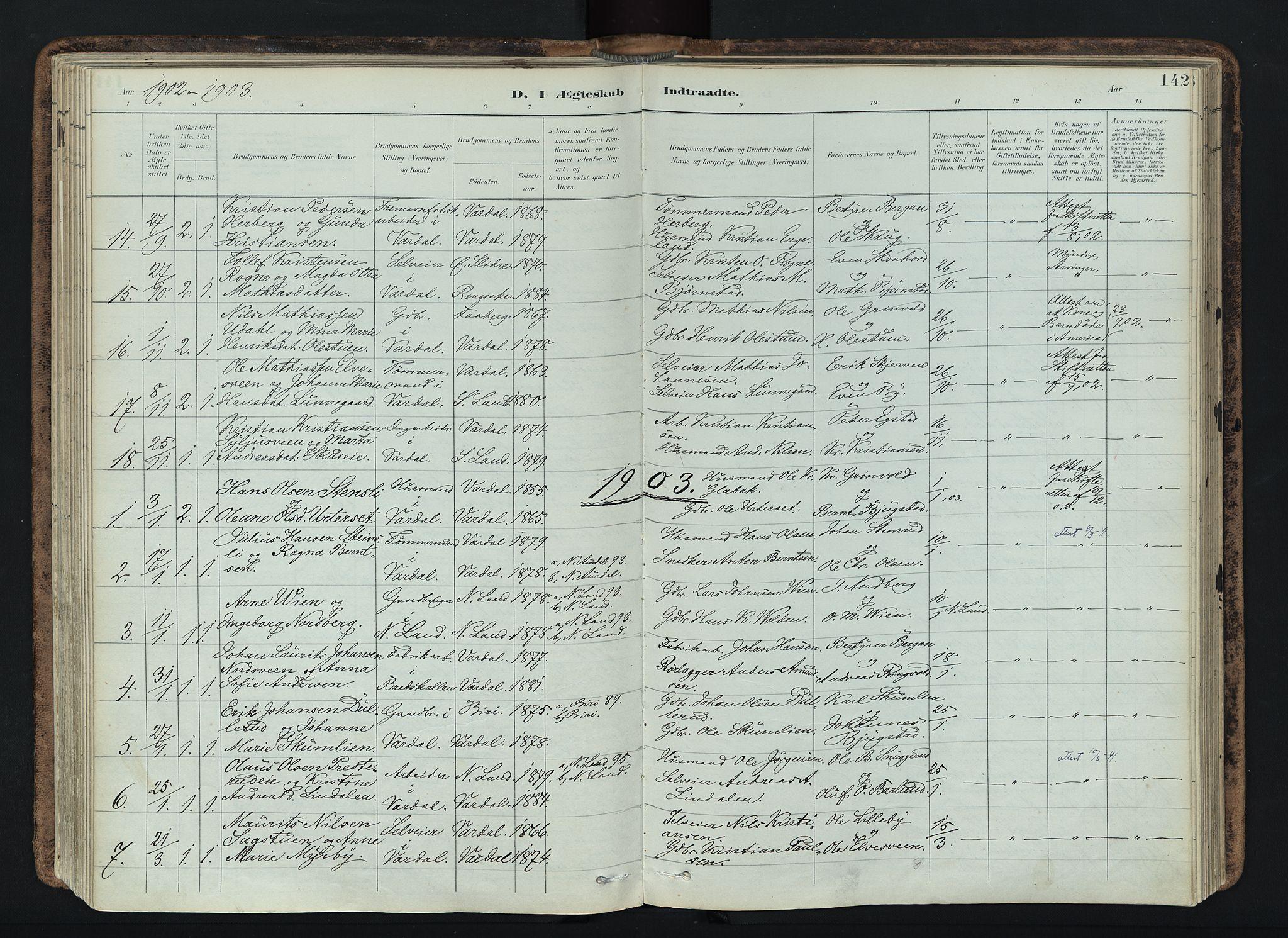 SAH, Vardal prestekontor, H/Ha/Haa/L0019: Ministerialbok nr. 19, 1893-1907, s. 142