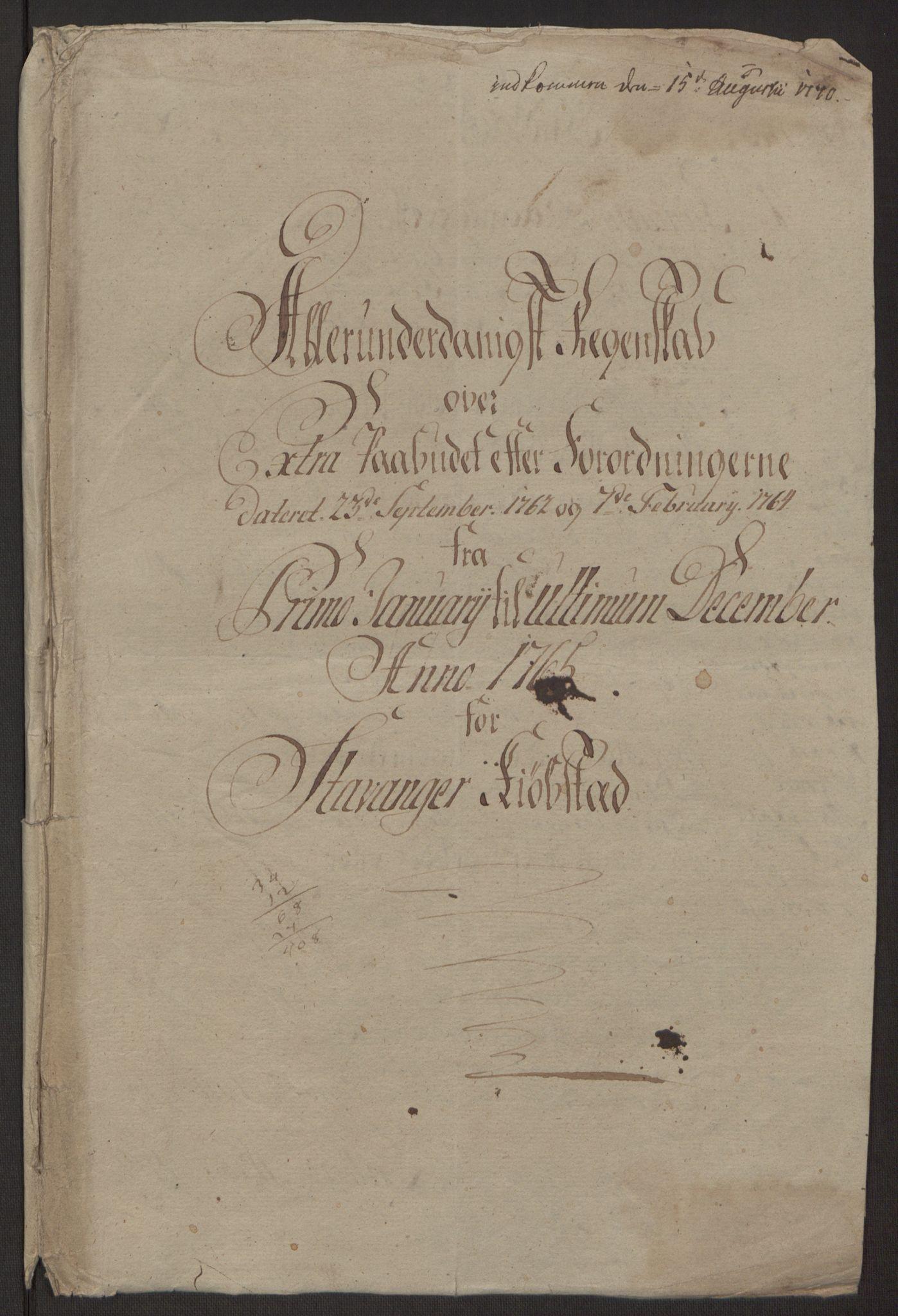 RA, Rentekammeret inntil 1814, Reviderte regnskaper, Byregnskaper, R/Ro/L0305: [O6] Kontribusjonsregnskap, 1762-1768, s. 78