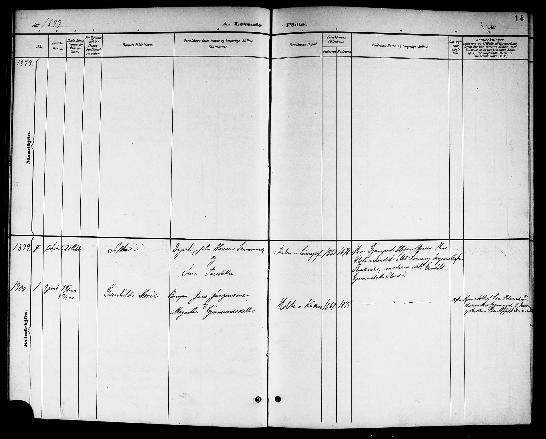SAKO, Kviteseid kirkebøker, G/Gc/L0001: Klokkerbok nr. III 1, 1893-1916, s. 14