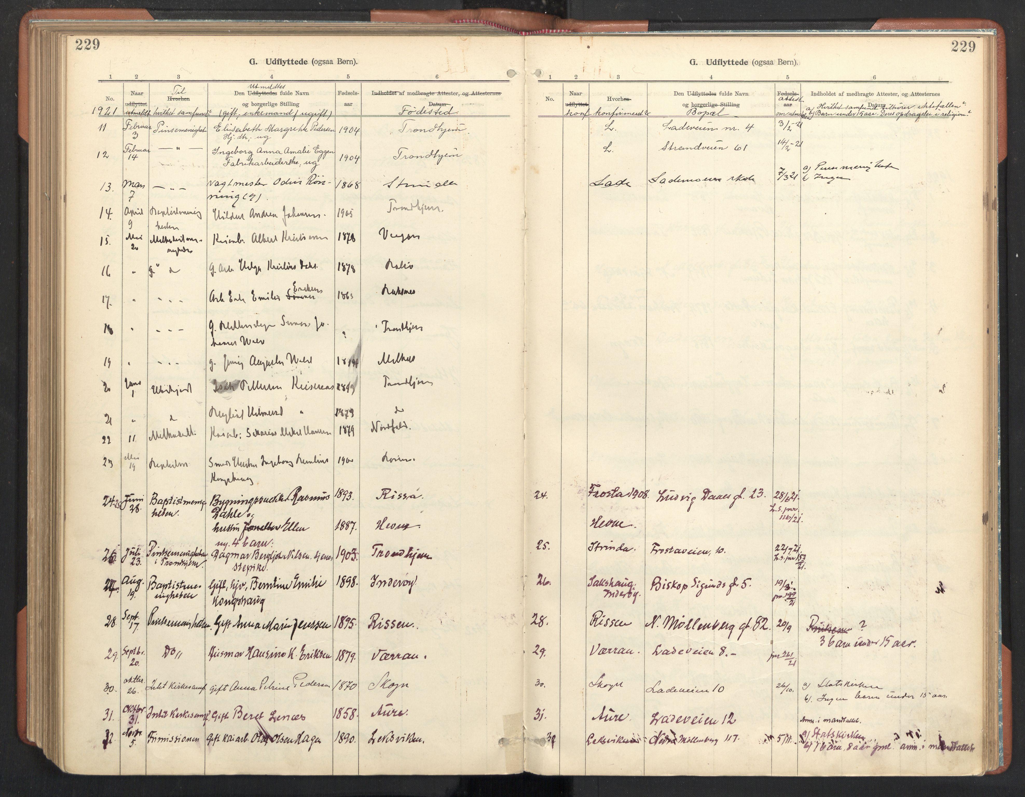 SAT, Ministerialprotokoller, klokkerbøker og fødselsregistre - Sør-Trøndelag, 605/L0244: Ministerialbok nr. 605A06, 1908-1954, s. 229