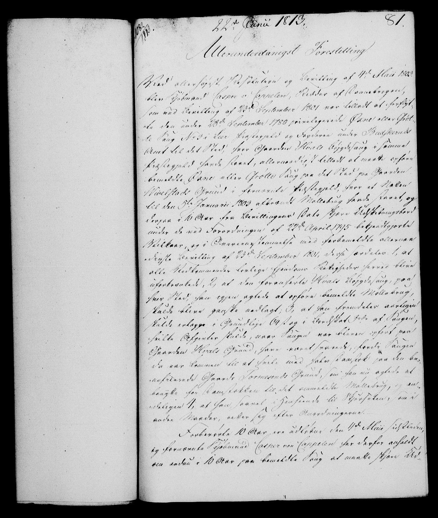 RA, Rentekammeret, Kammerkanselliet, G/Gf/Gfa/L0095: Norsk relasjons- og resolusjonsprotokoll (merket RK 52.95), 1813-1814, s. 323